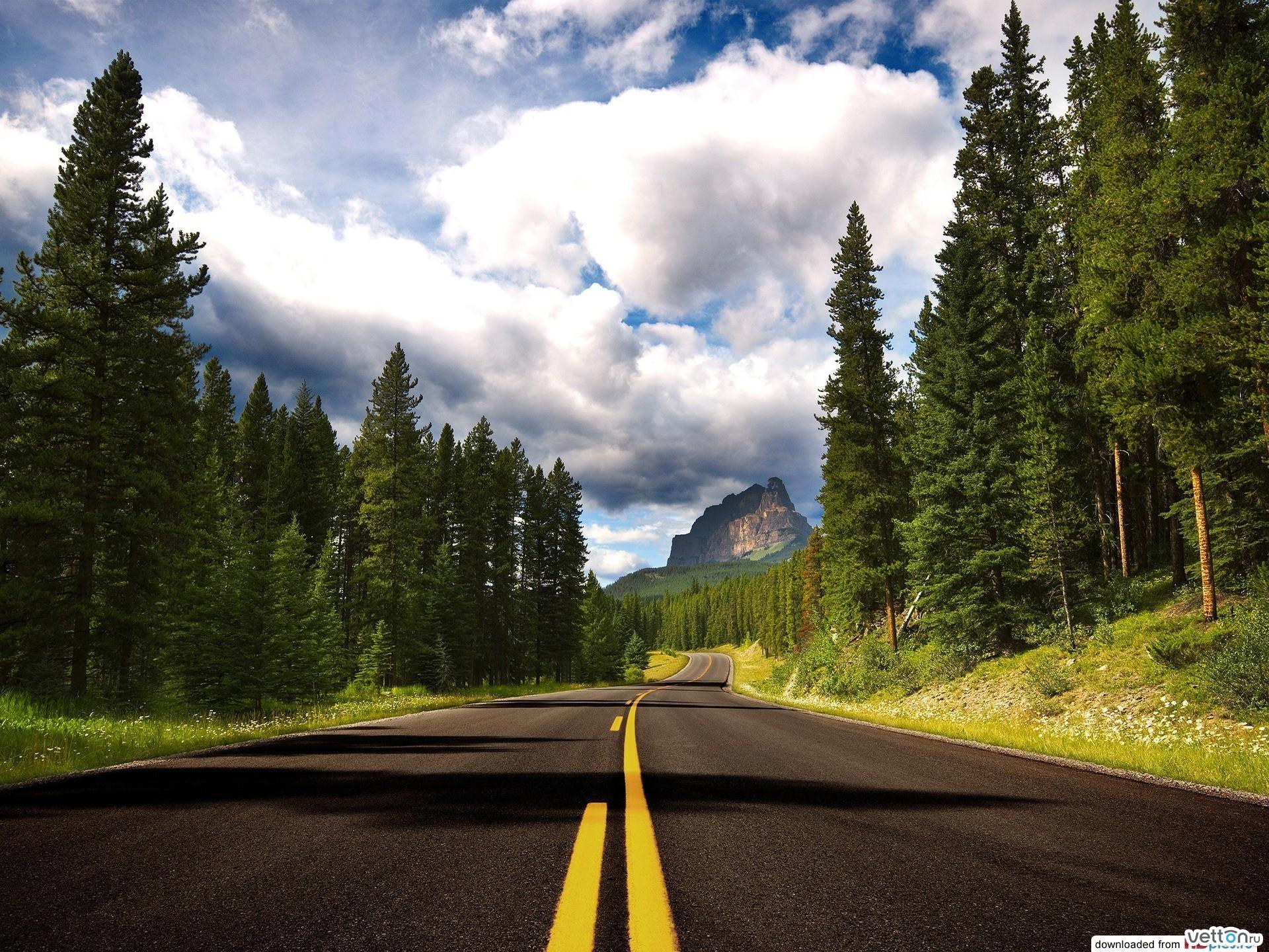 21796 скачать обои Пейзаж, Деревья, Небо, Дороги, Облака - заставки и картинки бесплатно