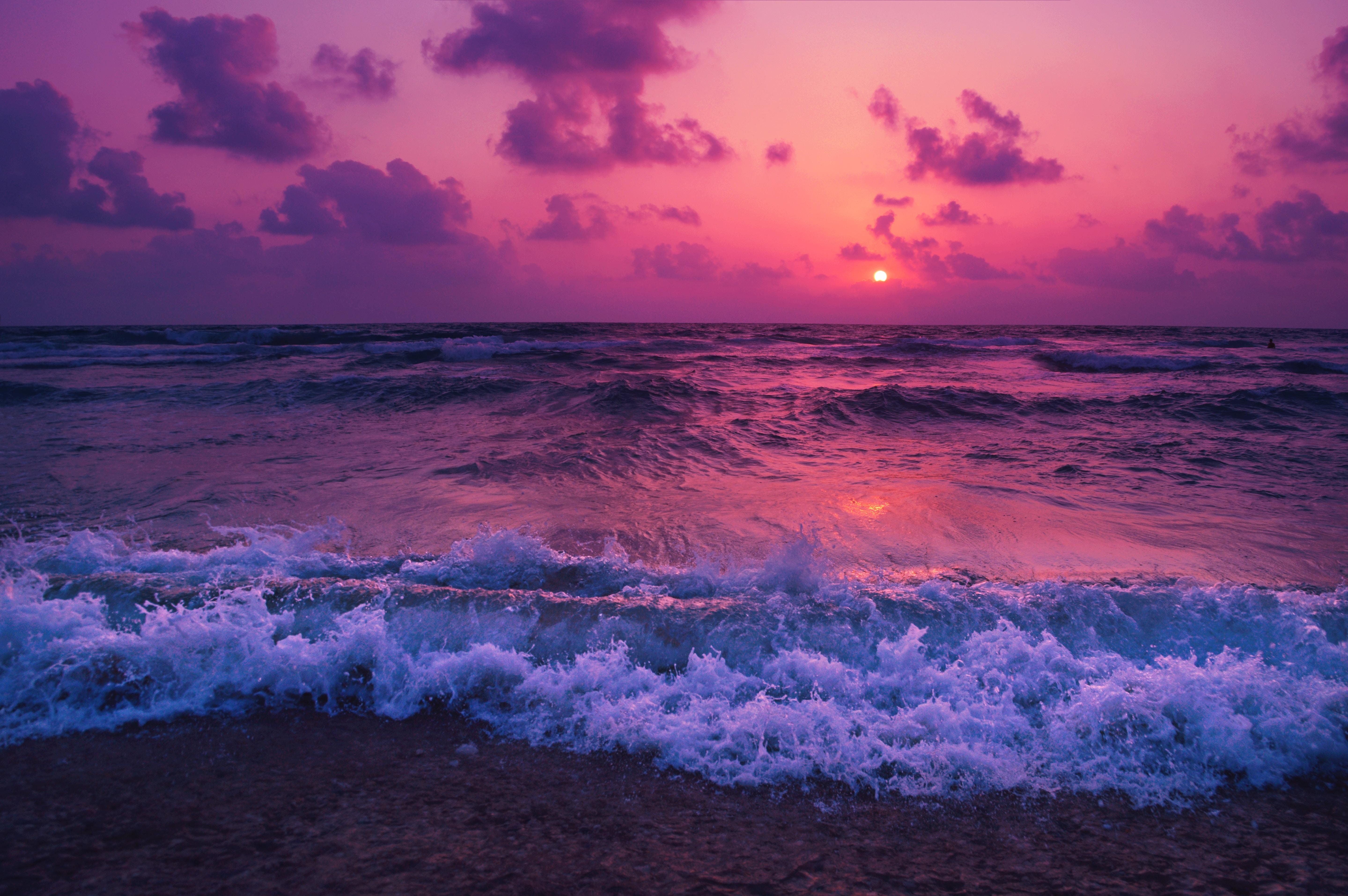118836 скачать обои Закат, Природа, Облака, Море, Горизонт, Пена, Прибой - заставки и картинки бесплатно