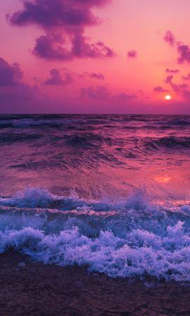 118836 скачать обои Природа, Море, Закат, Горизонт, Прибой, Пена, Облака - заставки и картинки бесплатно