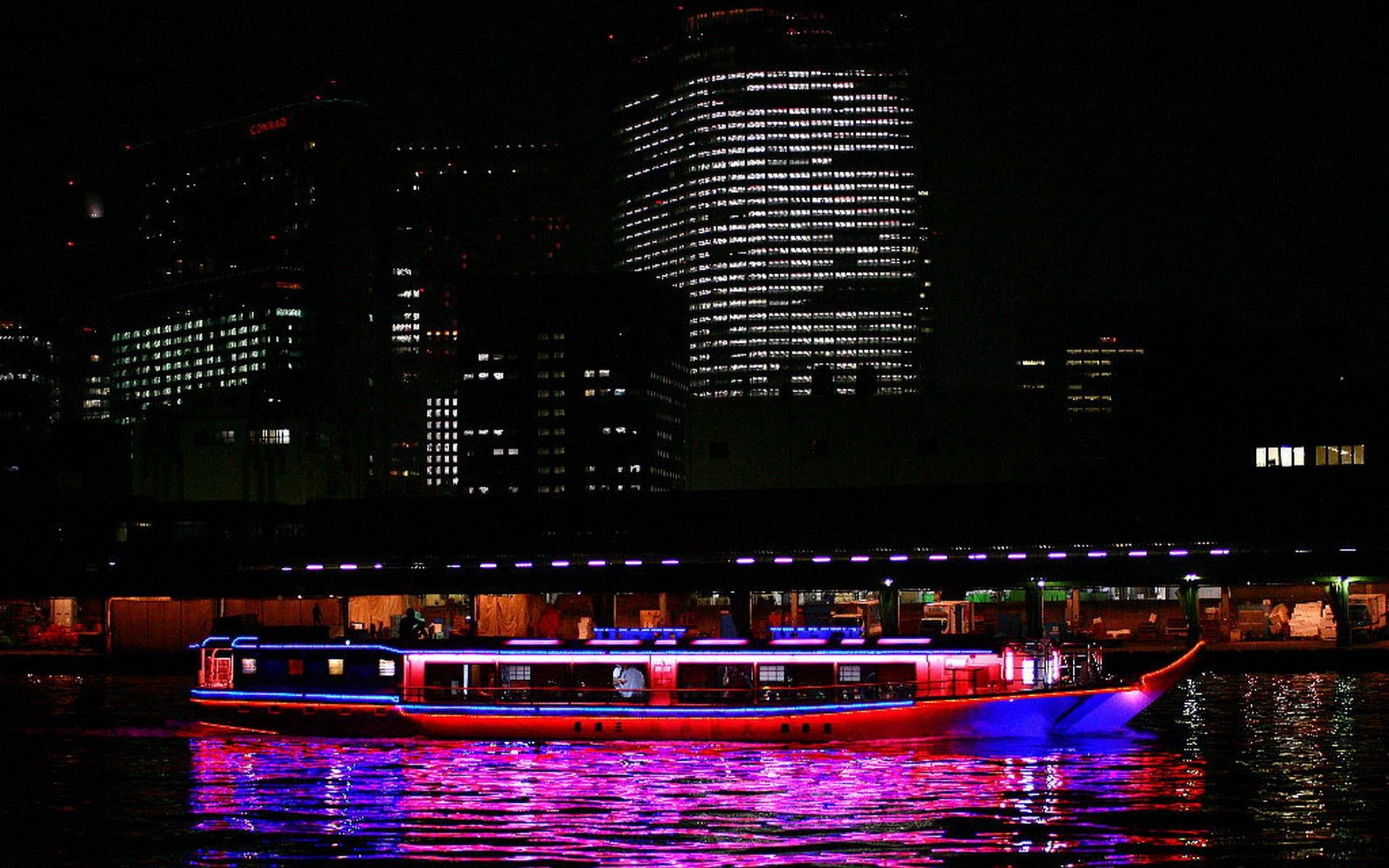 154624 download wallpaper Japan, Swimming, Rivers, Building, Journey, Night, Cities screensavers and pictures for free