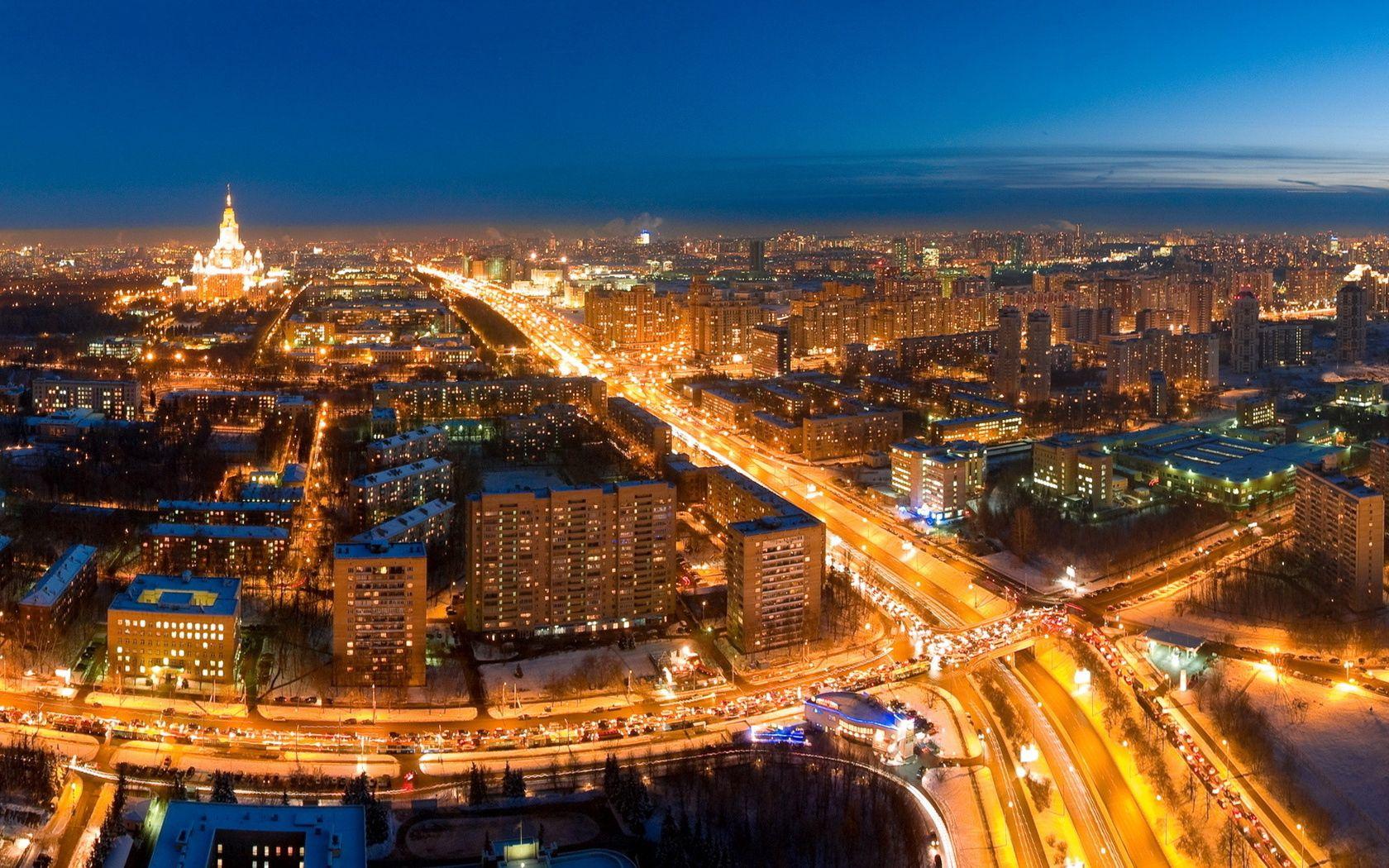 153524 скачать обои Москва, Города, Ночь, Огни, Дорога - заставки и картинки бесплатно