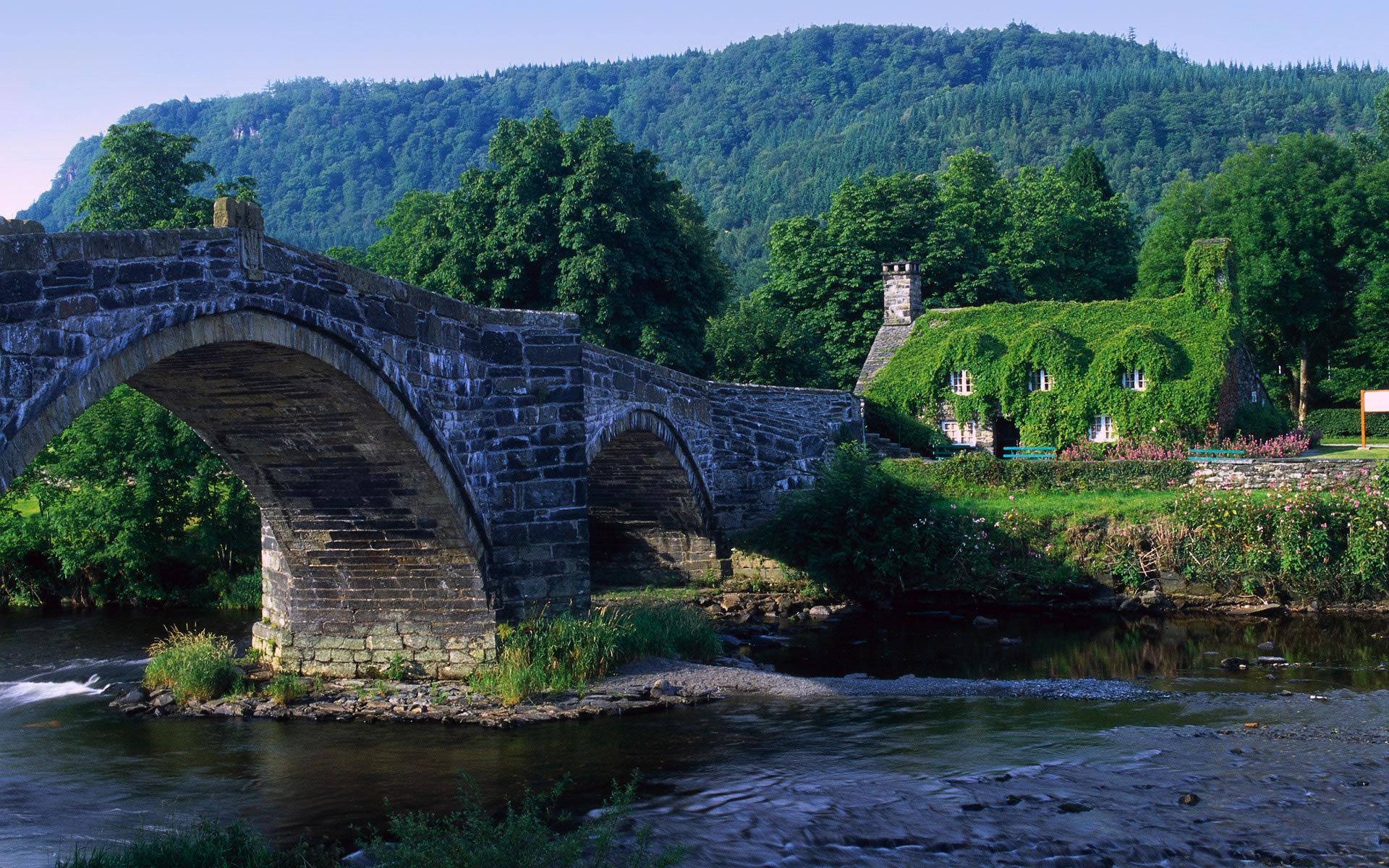 18683 скачать обои Пейзаж, Река, Мосты, Горы - заставки и картинки бесплатно