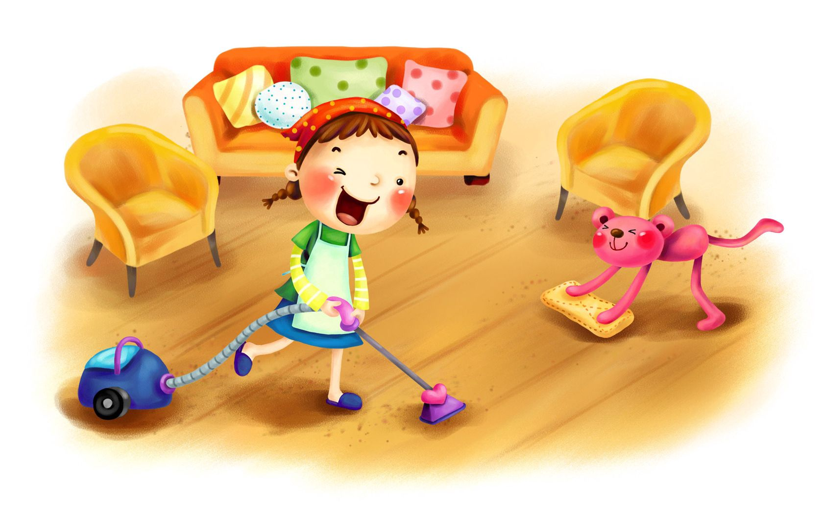 130581 скачать обои Разное, Девочка, Ребенок, Пылесос, Уборка, Комната, Собака, Мебель, Рисунок - заставки и картинки бесплатно