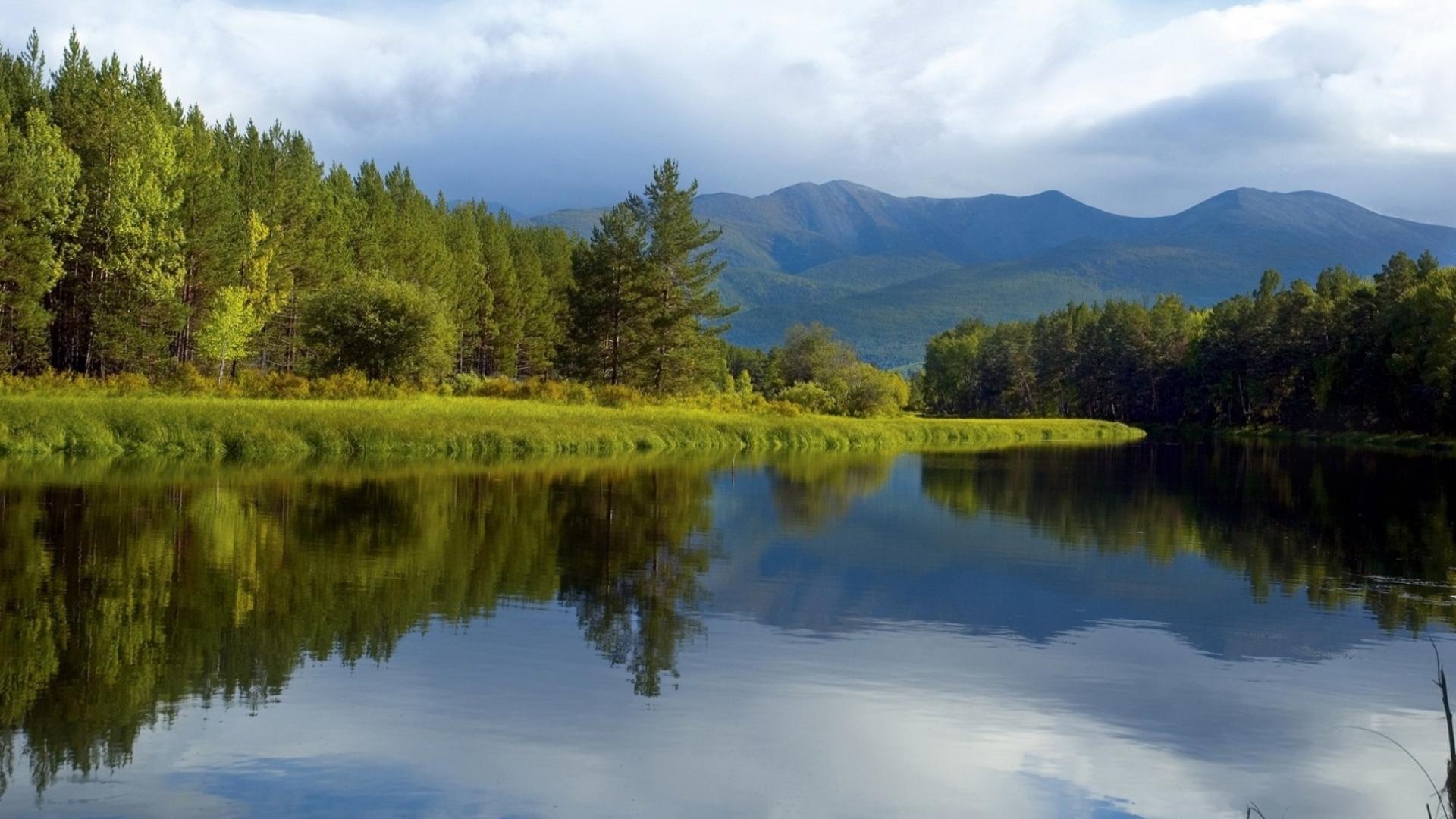 27058 скачать обои Пейзаж, Река, Деревья, Горы - заставки и картинки бесплатно