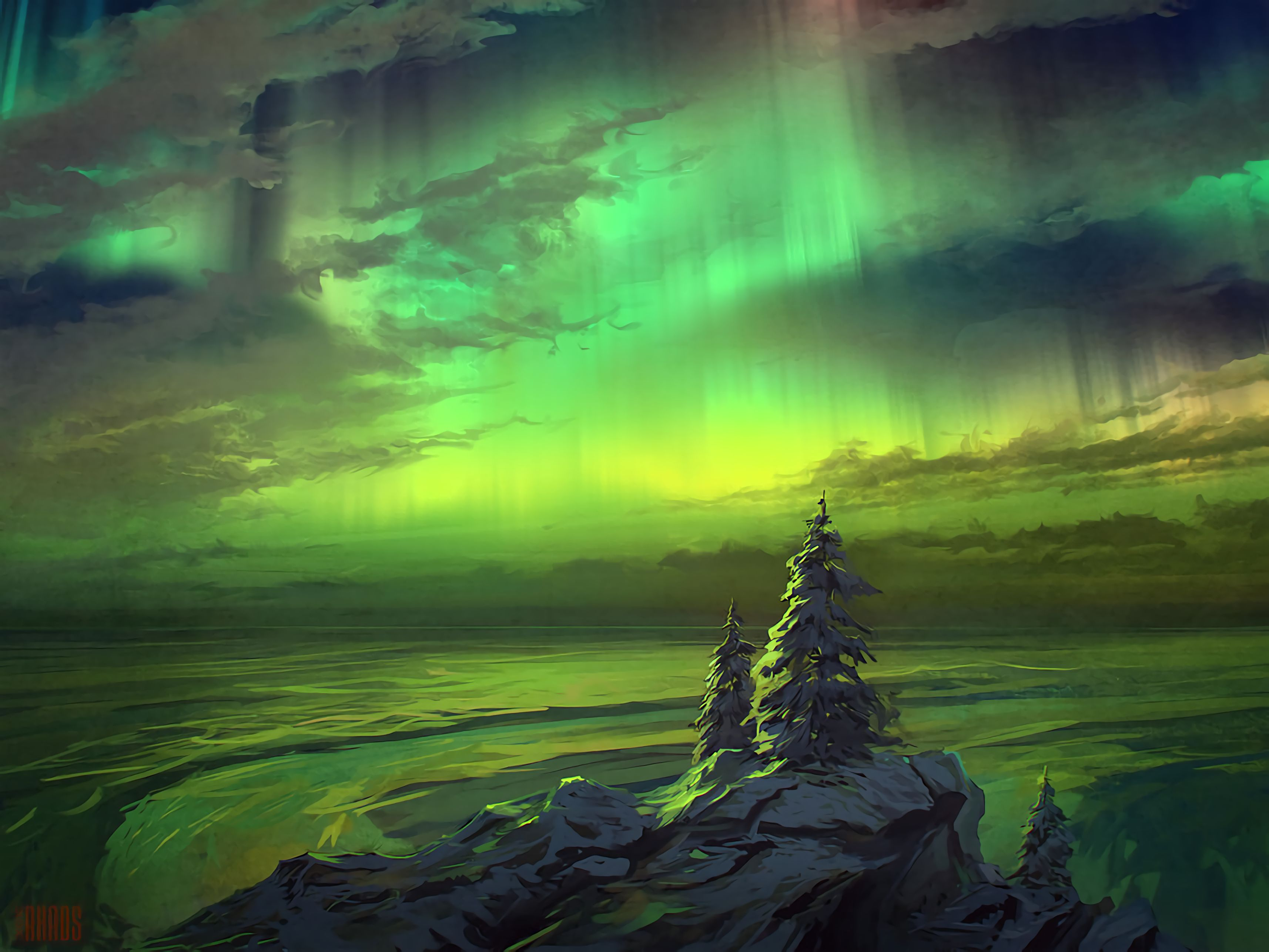 155116 download wallpaper Northern Lights, Aurora Borealis, Trees, Snow Covered, Snowbound, Art screensavers and pictures for free