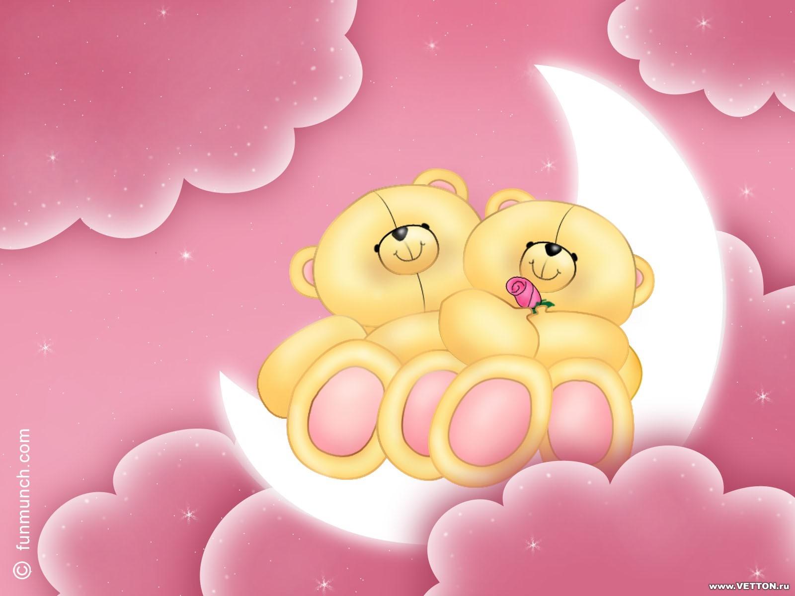 13004 免費下載壁紙 云, 月球, 熊, 爱, 情人节, 图片 屏保和圖片