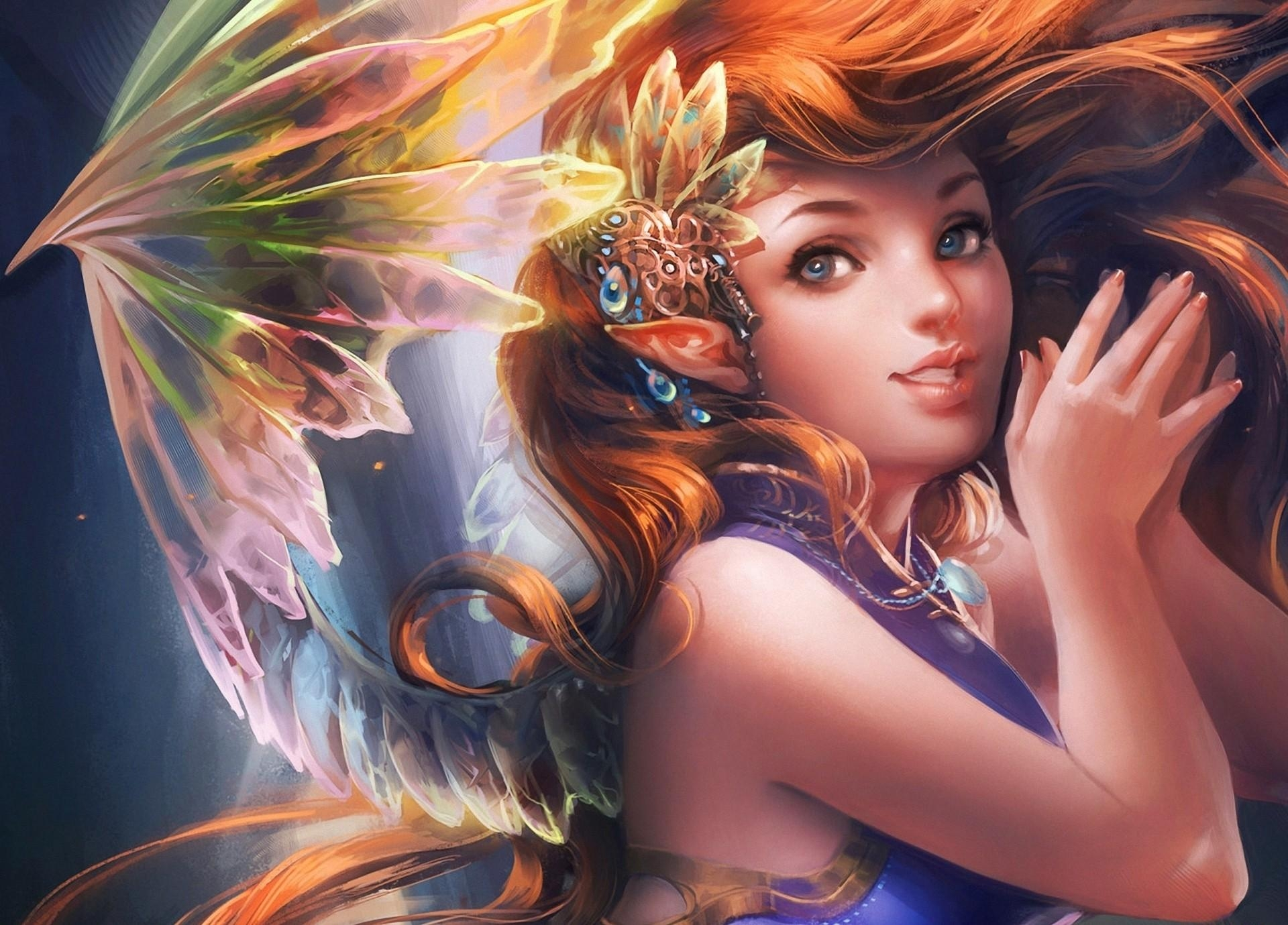 106737 free wallpaper 1440x2560 for phone, download images Fantasy, Girl, Wings, Hair, Elf 1440x2560 for mobile