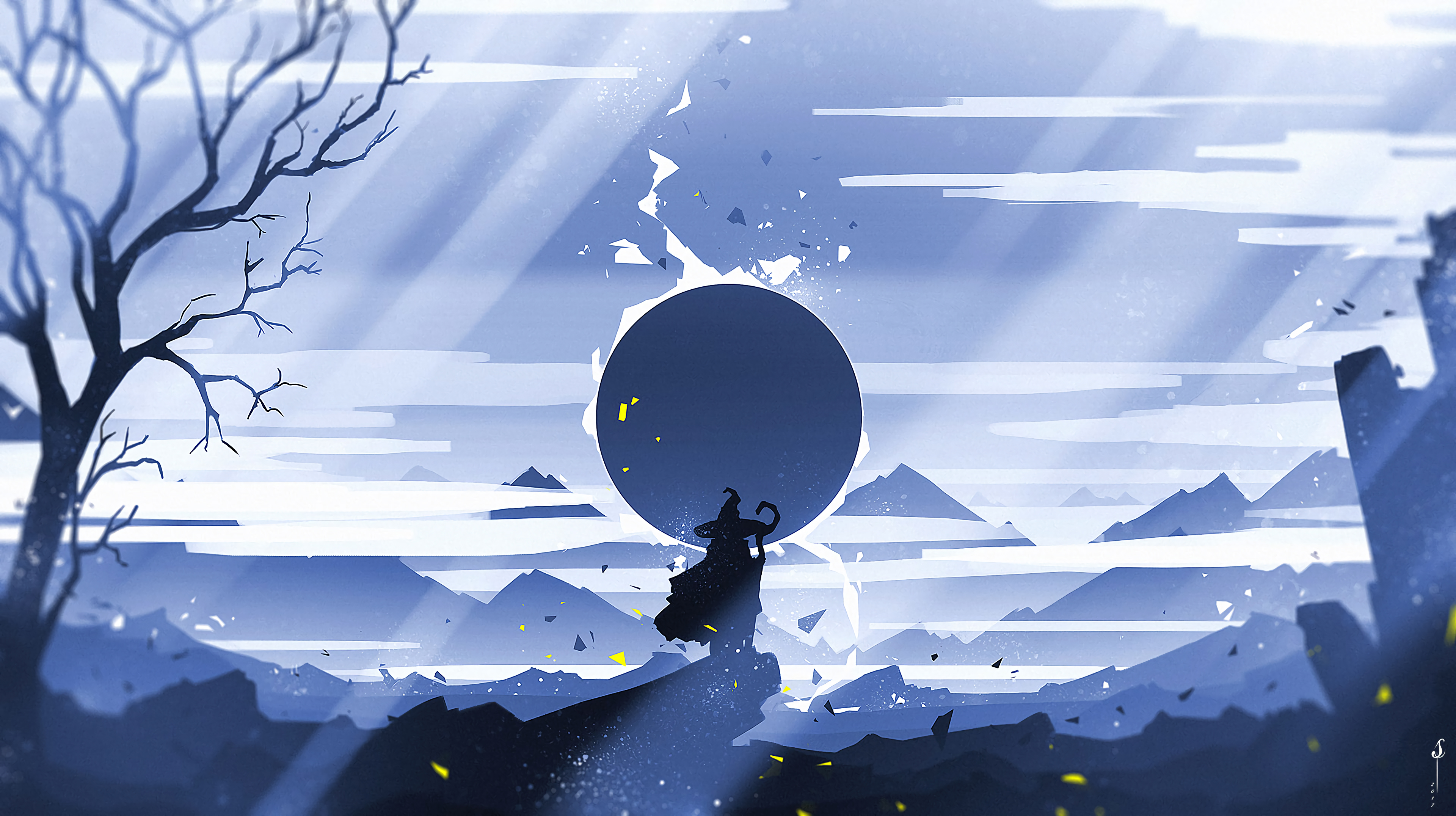 106611 download wallpaper Art, Mountains, Sun, Vector, Silhouette, Journey screensavers and pictures for free