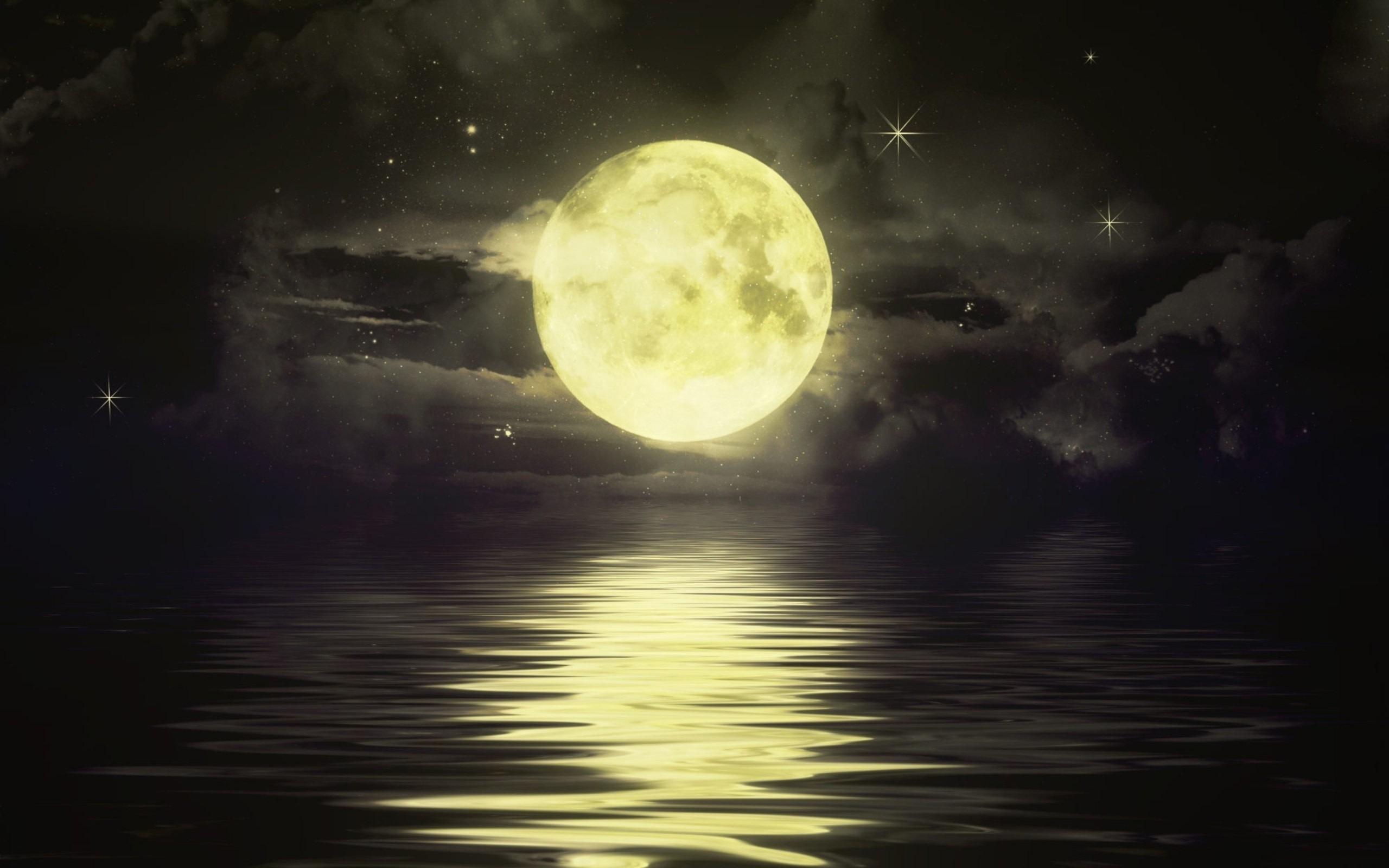 27269 скачать обои Пейзаж, Море, Ночь, Луна, Рисунки - заставки и картинки бесплатно