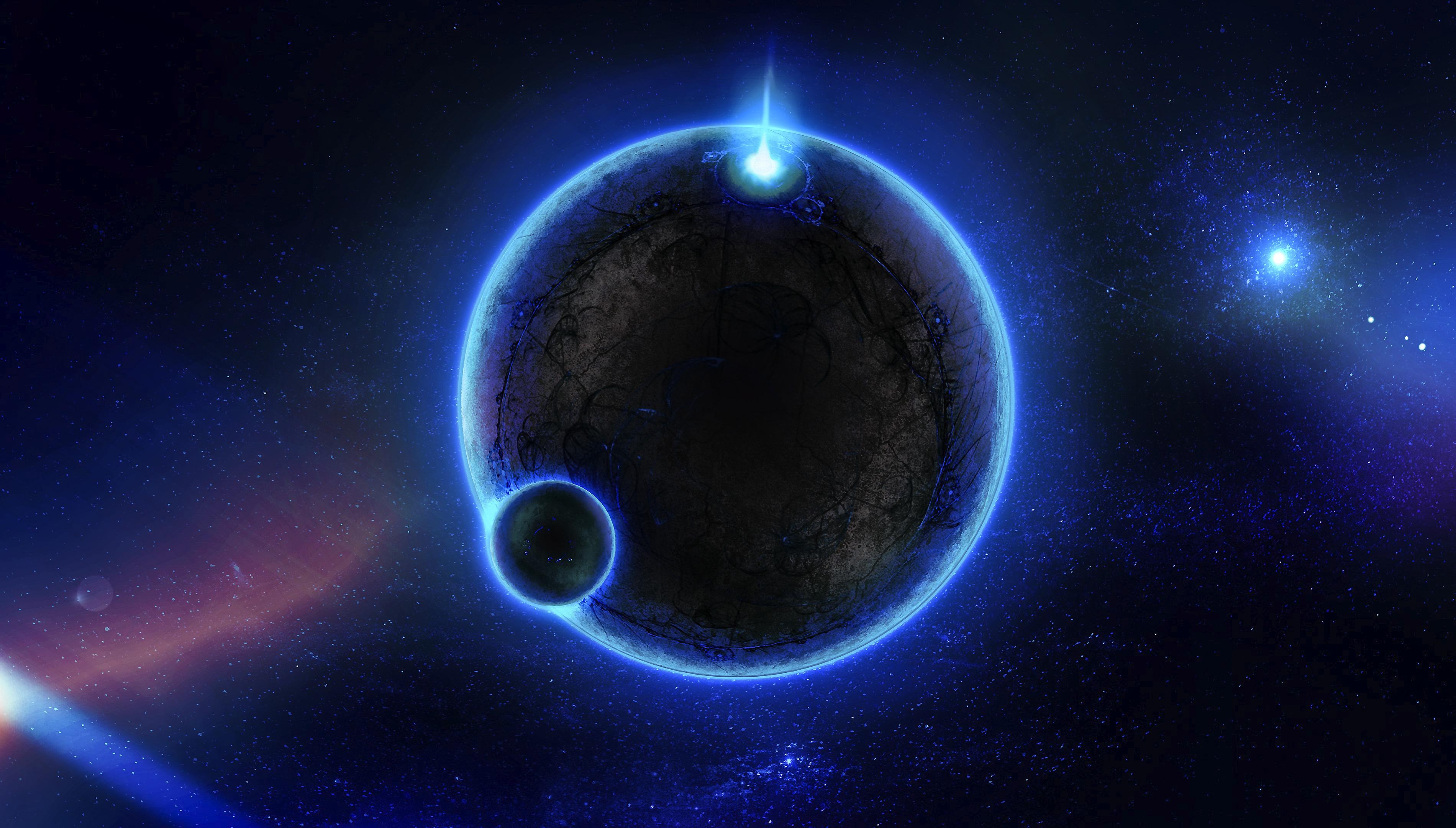 146407 скачать обои Планеты, Свечение, Космос, Свет, Синий - заставки и картинки бесплатно