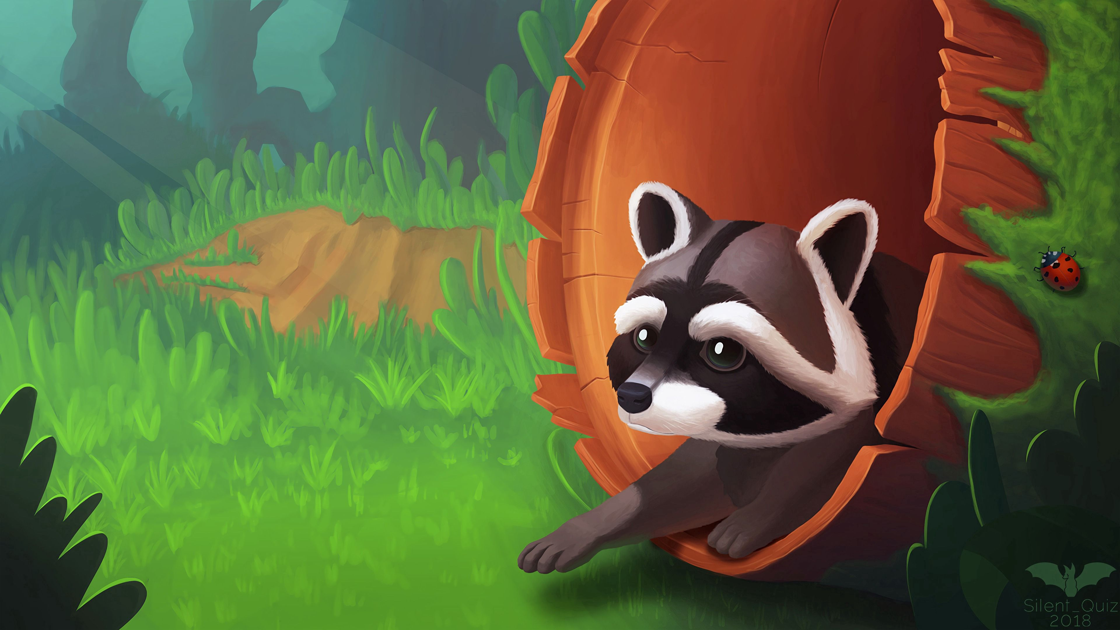 62675 Screensavers and Wallpapers Raccoon for phone. Download Grass, Art, Wood, Tree, Raccoon pictures for free