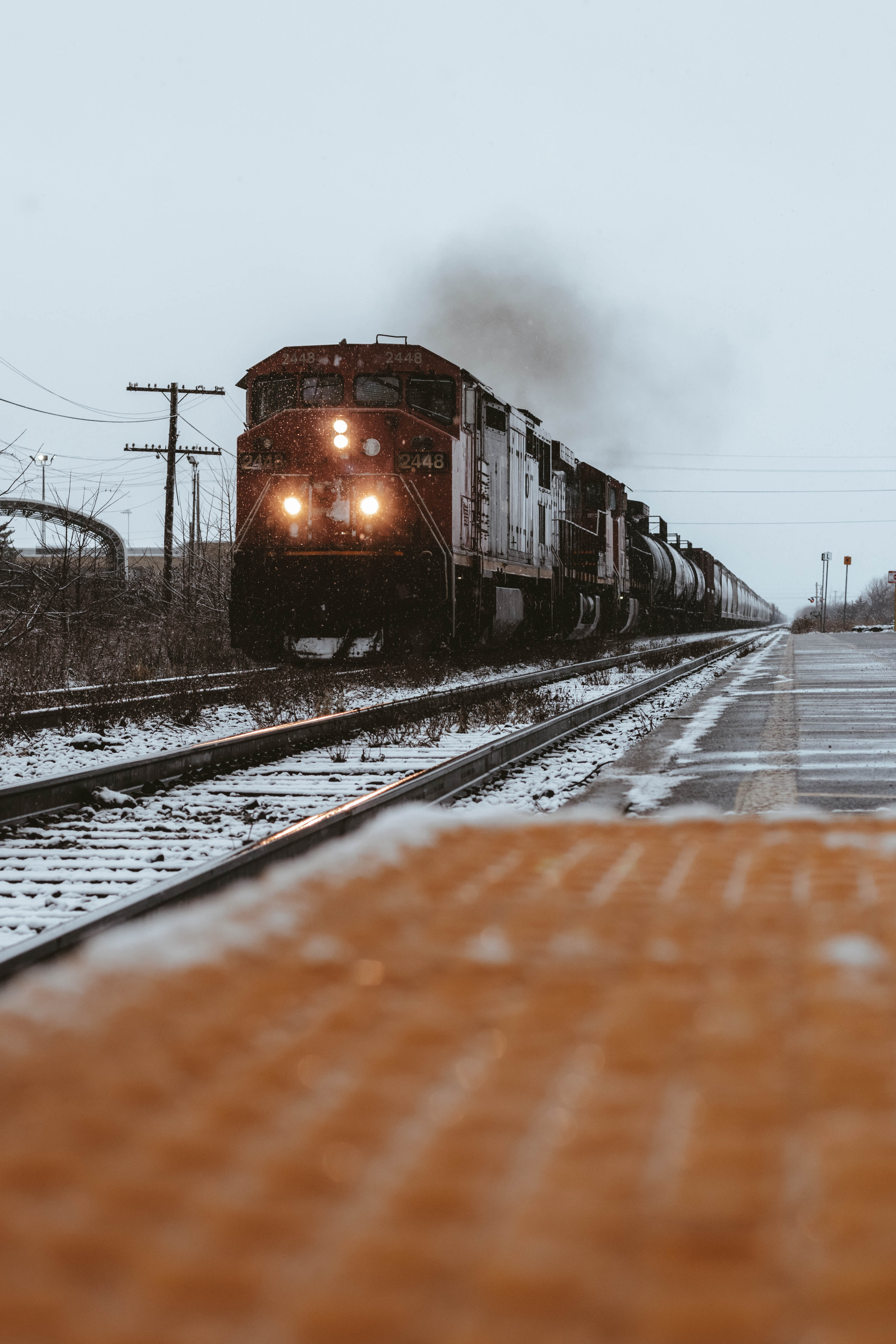 151078 Screensavers and Wallpapers Train for phone. Download Winter, Snow, Miscellanea, Miscellaneous, Railway, Rails, Train pictures for free