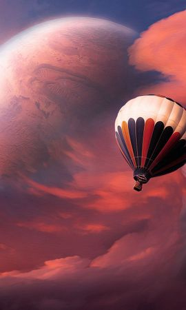 78517 download wallpaper Abstract, Balloon, Sky, Clouds, Flight, Moon screensavers and pictures for free