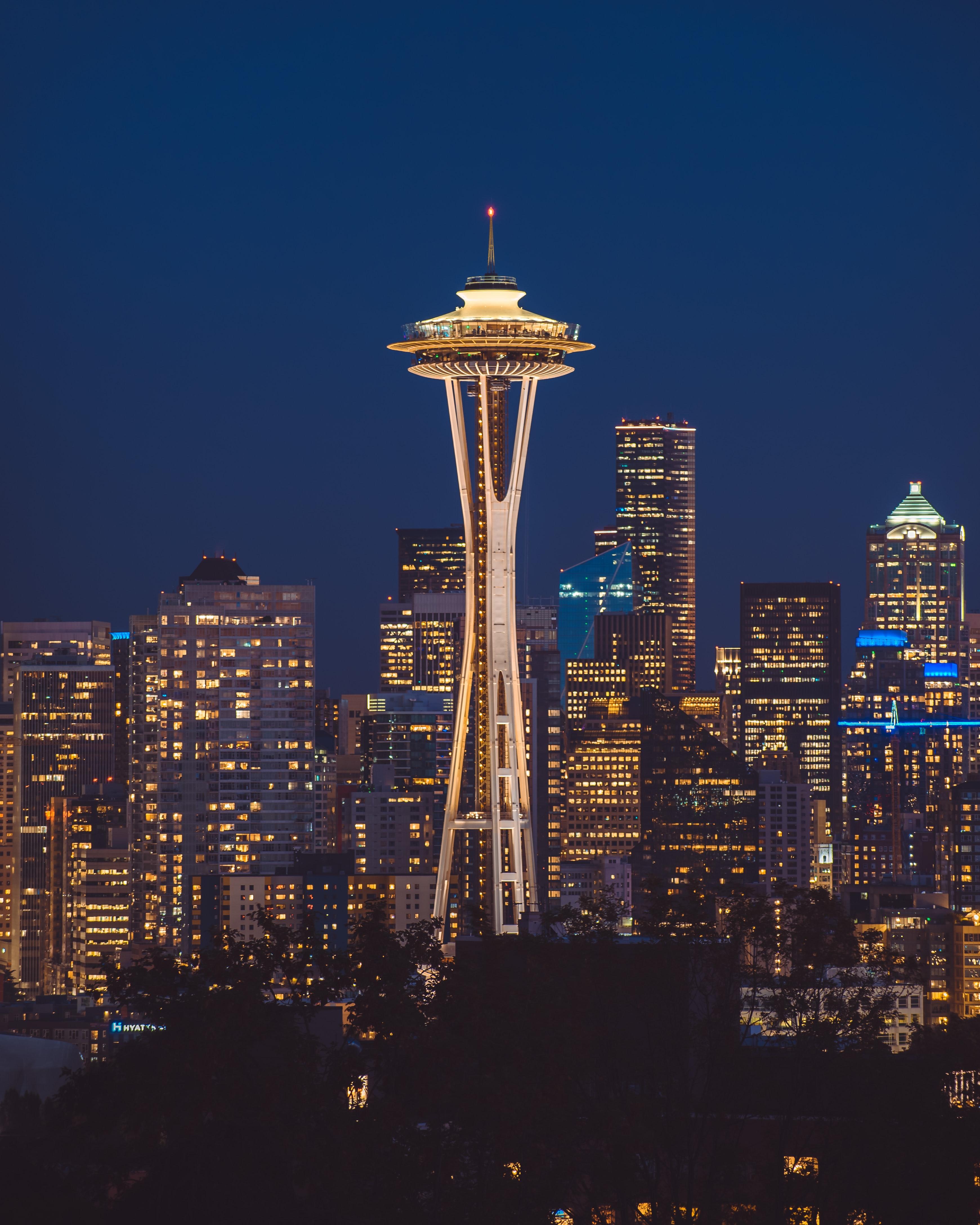 90505 скачать обои Здания, Башня, Небоскребы, Ночной Город, Сиэтл, Сша, Архитектура, Города - заставки и картинки бесплатно