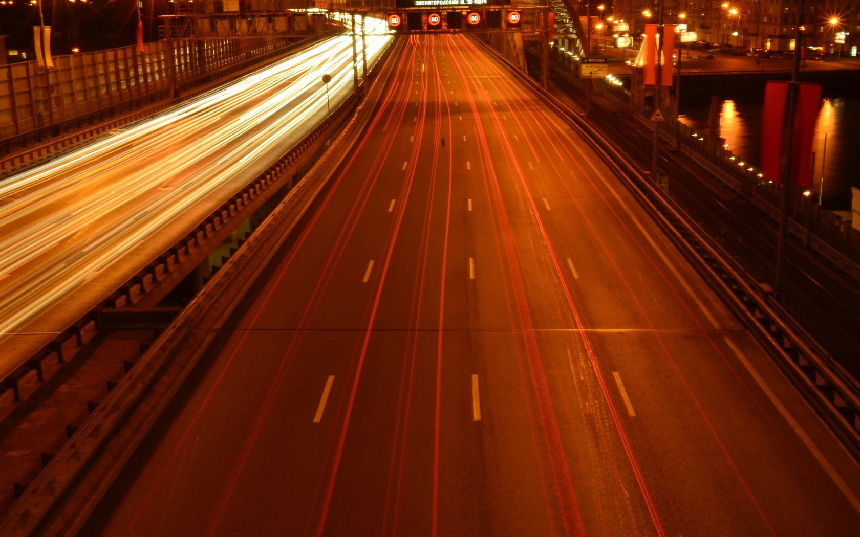 147298 скачать обои Москва, Мост, Дорога, Огни, Города, Машины - заставки и картинки бесплатно