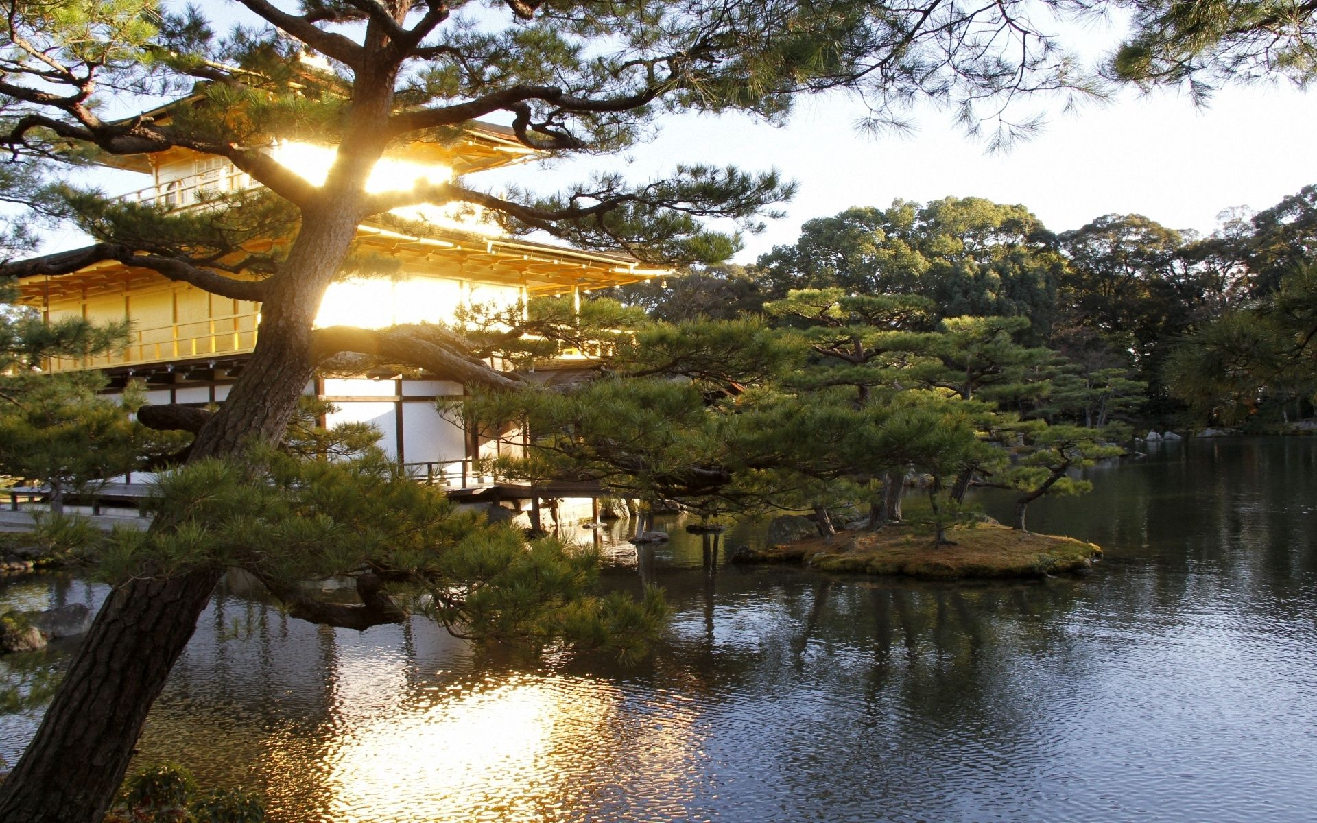 62938 download wallpaper Nature, Water, Trees, Evening, Garden, Japan, Mansion screensavers and pictures for free