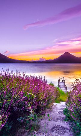 71294 скачать обои Природа, Озеро, Одиночество, Цветение, Атитлан, Гватемала, Горы - заставки и картинки бесплатно