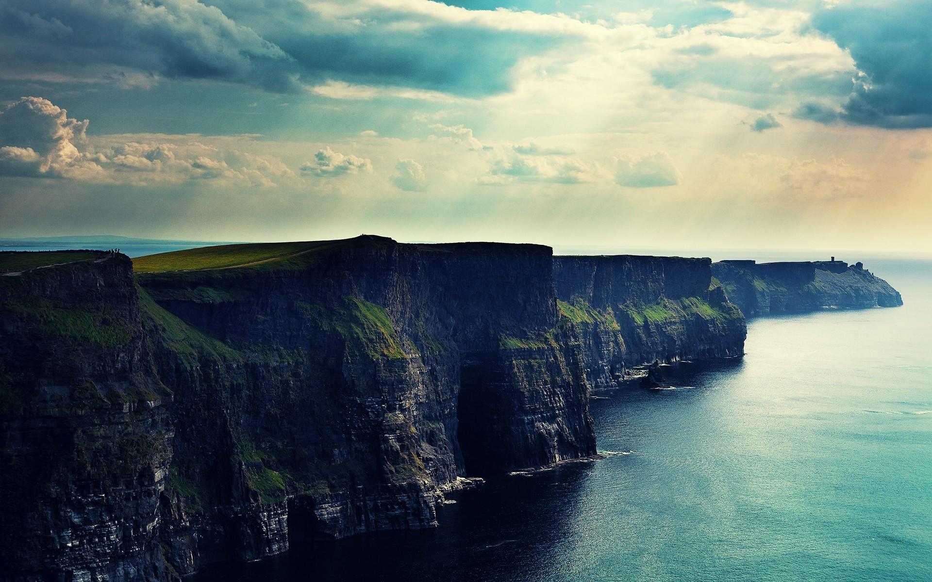 23256 скачать обои Пейзаж, Горы, Море, Солнце, Облака - заставки и картинки бесплатно