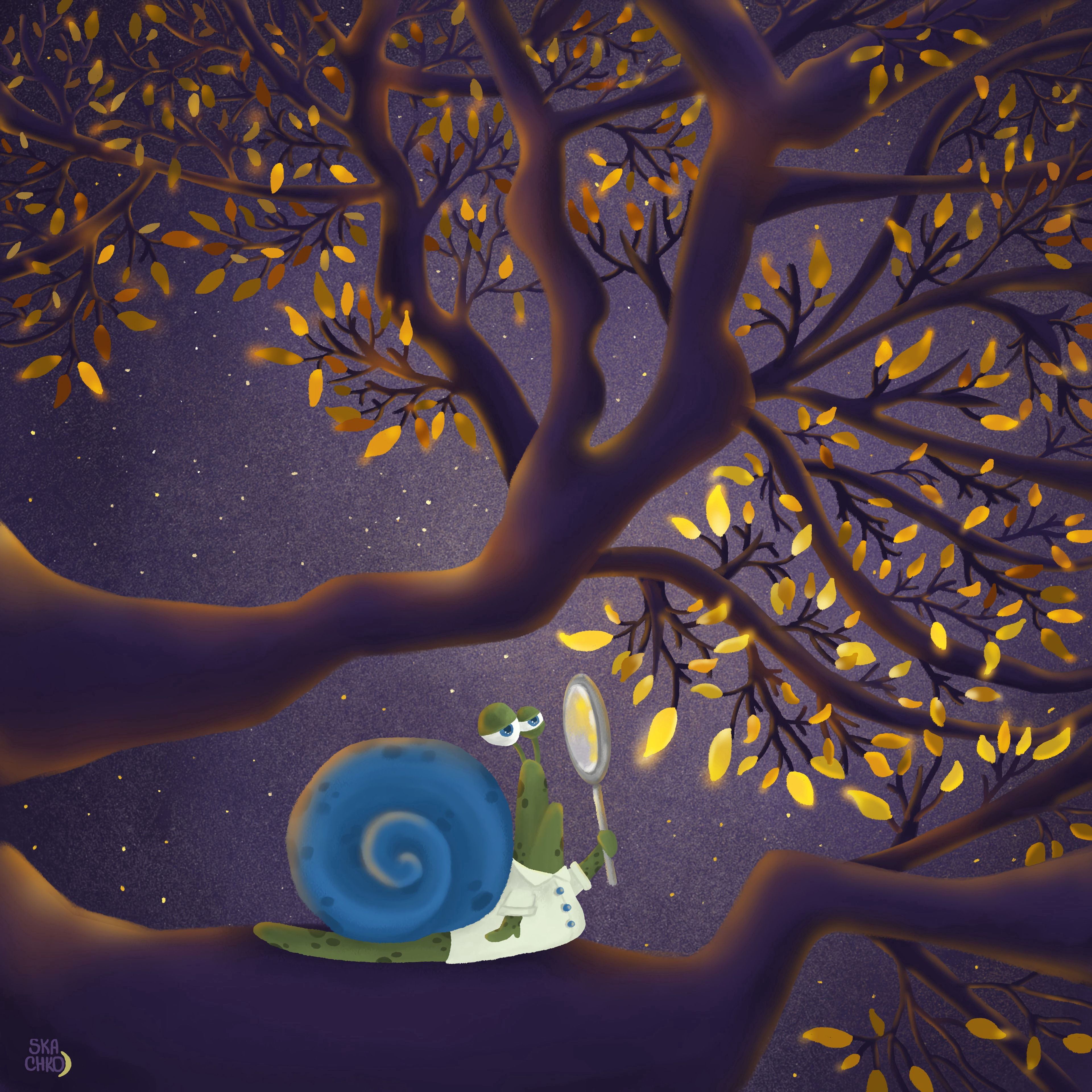 59002 download wallpaper Snail, Branch, Magnifier, Leaves, Art, Cool screensavers and pictures for free