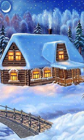 21880 télécharger le fond d'écran Fêtes, Hiver, Maisons, Nouvelle Année, Neige, Sapins, Noël, Dessins - économiseurs d'écran et images gratuitement