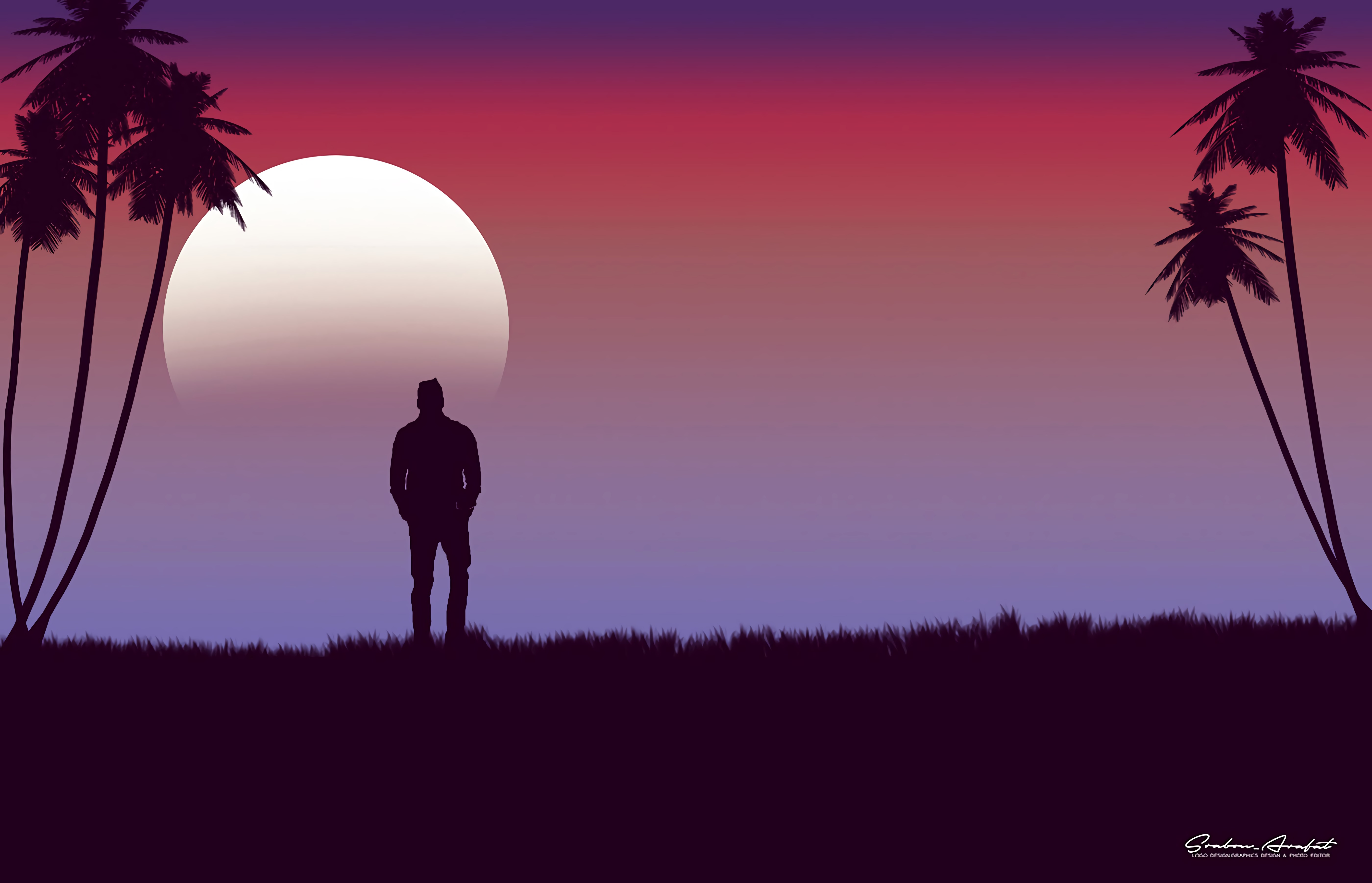 69325 free wallpaper 1125x2436 for phone, download images Moon, Vector, Palm, Loneliness, Alone, Lonely 1125x2436 for mobile