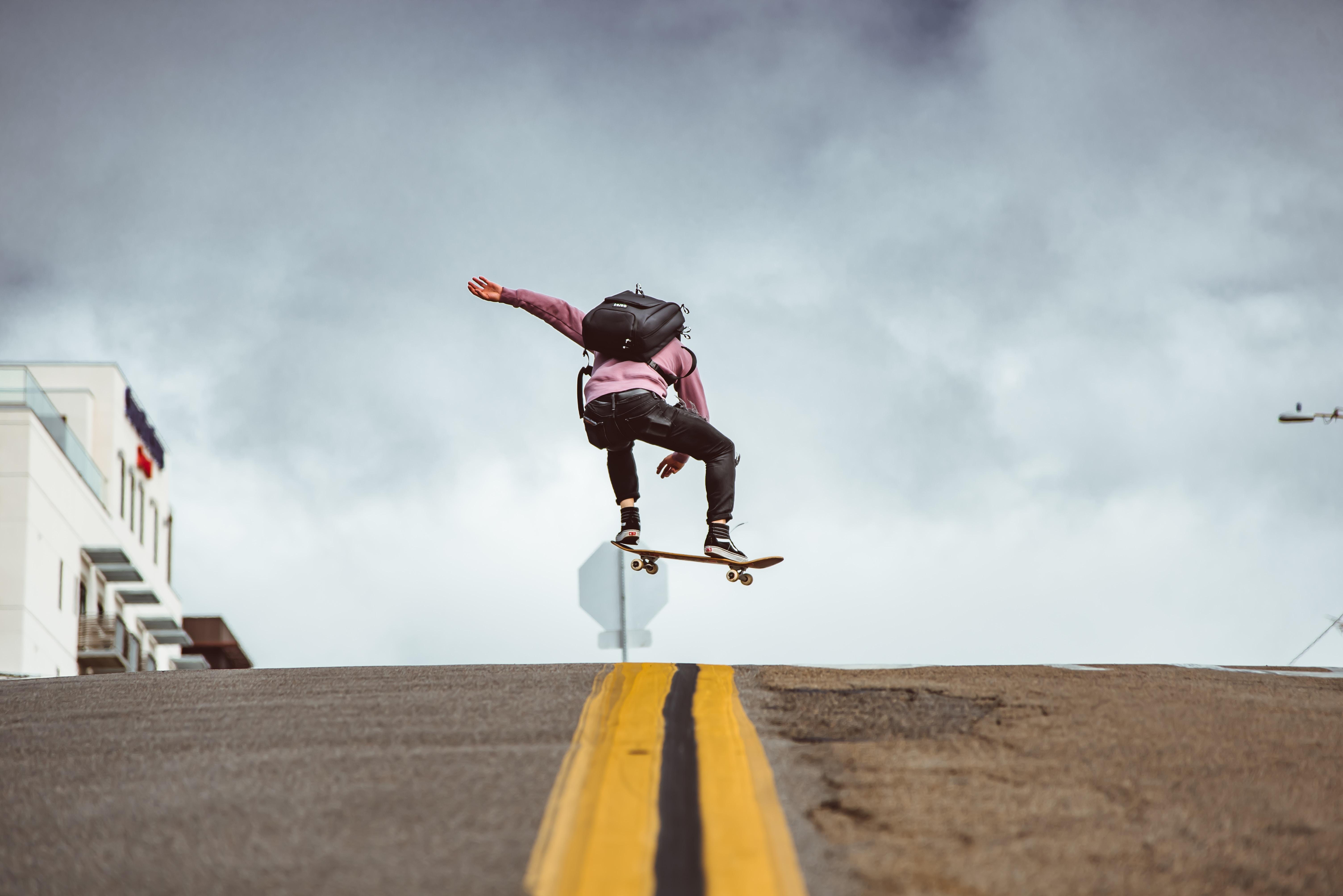 97701 скачать обои Спорт, Скейтборд, Прыжок, Трюк, Дорога - заставки и картинки бесплатно