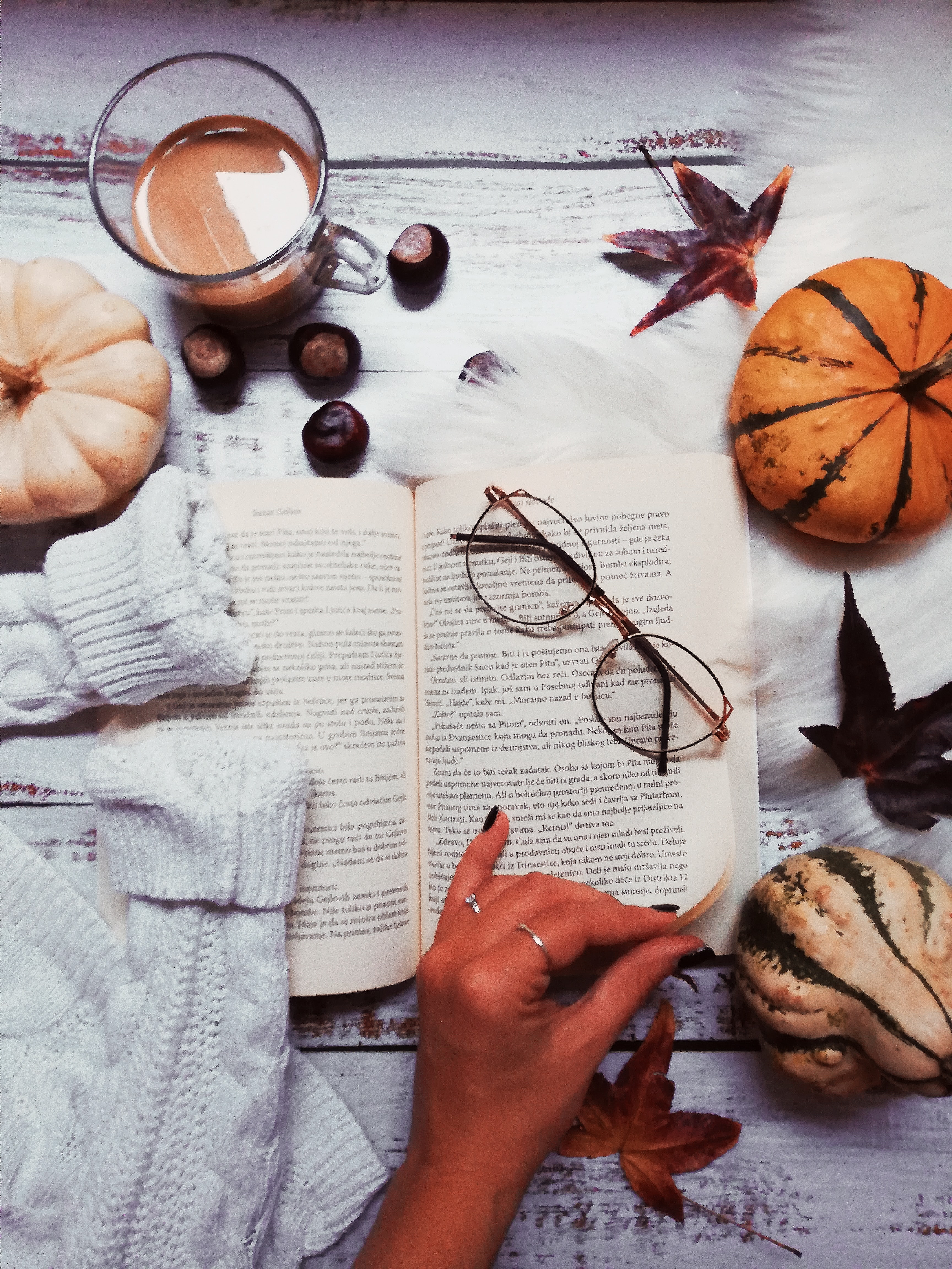 113241 download wallpaper Miscellanea, Miscellaneous, Book, Glasses, Spectacles, Coffee, Hand screensavers and pictures for free