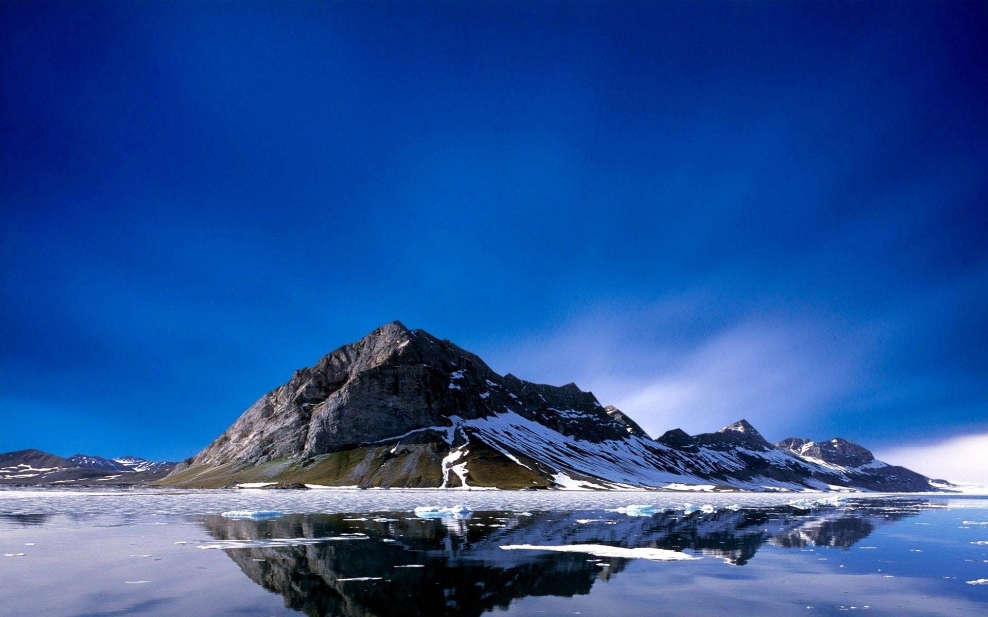 54755 скачать обои Природа, Гора, Пик, Остров, Море, Снег, Холод, Тишина - заставки и картинки бесплатно
