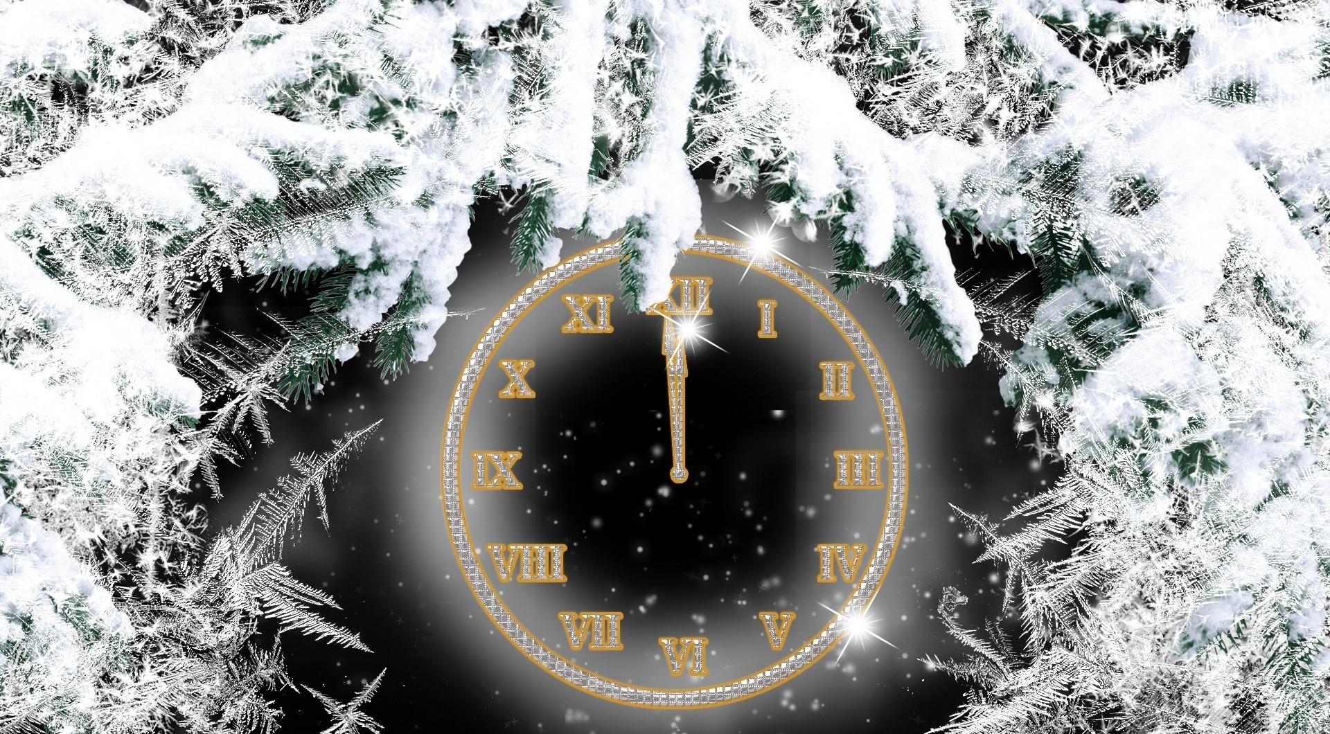 66828 скачать обои Праздники, Снег, Часы, Ветки, Хвоя, Циферблат, Полночь - заставки и картинки бесплатно