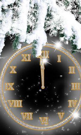 66828 скачать обои Праздники, Циферблат, Хвоя, Ветки, Снег, Полночь, Часы - заставки и картинки бесплатно