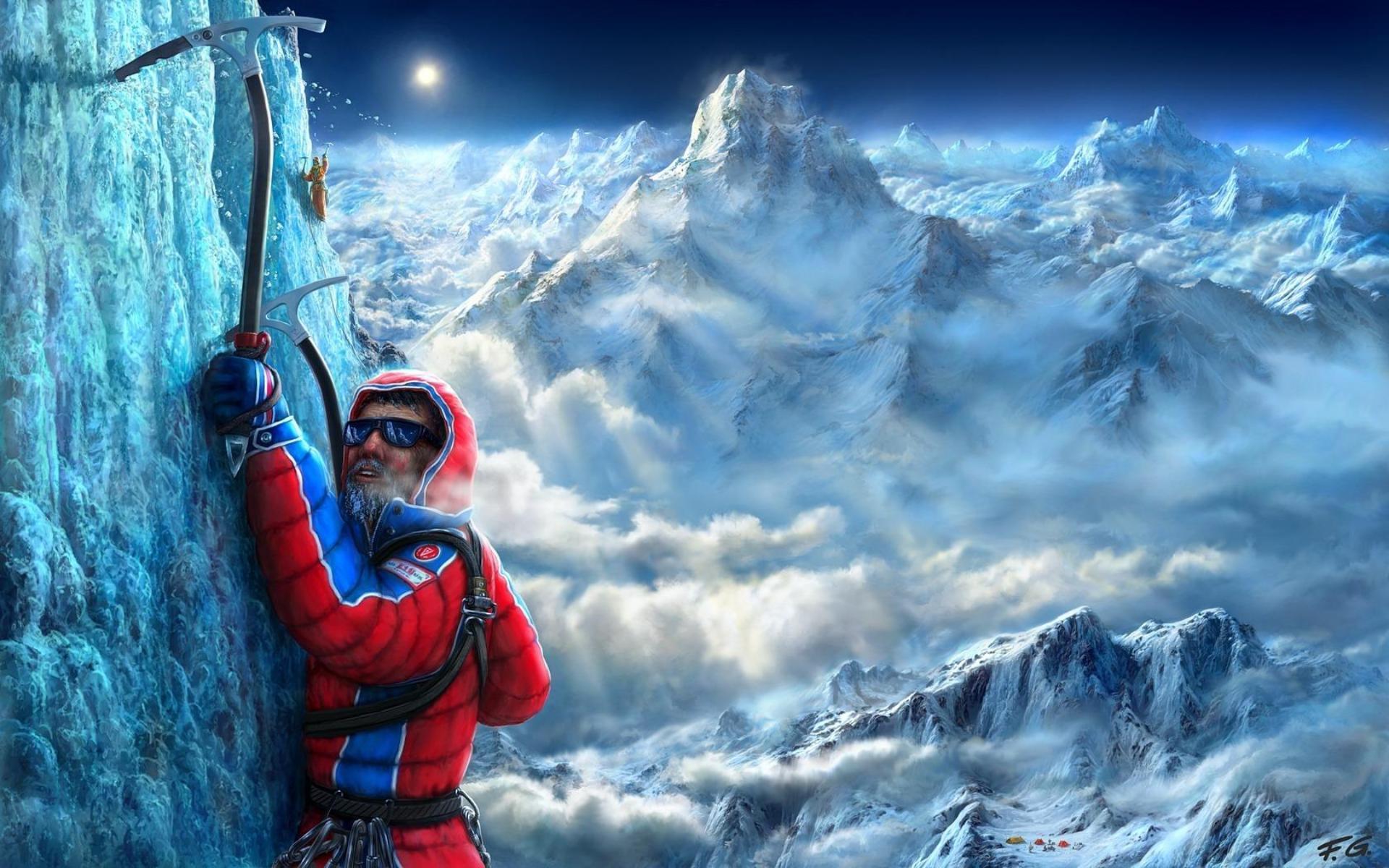24522 скачать обои Люди, Горы, Мужчины, Рисунки, Скалолазы, Альпинисты - заставки и картинки бесплатно