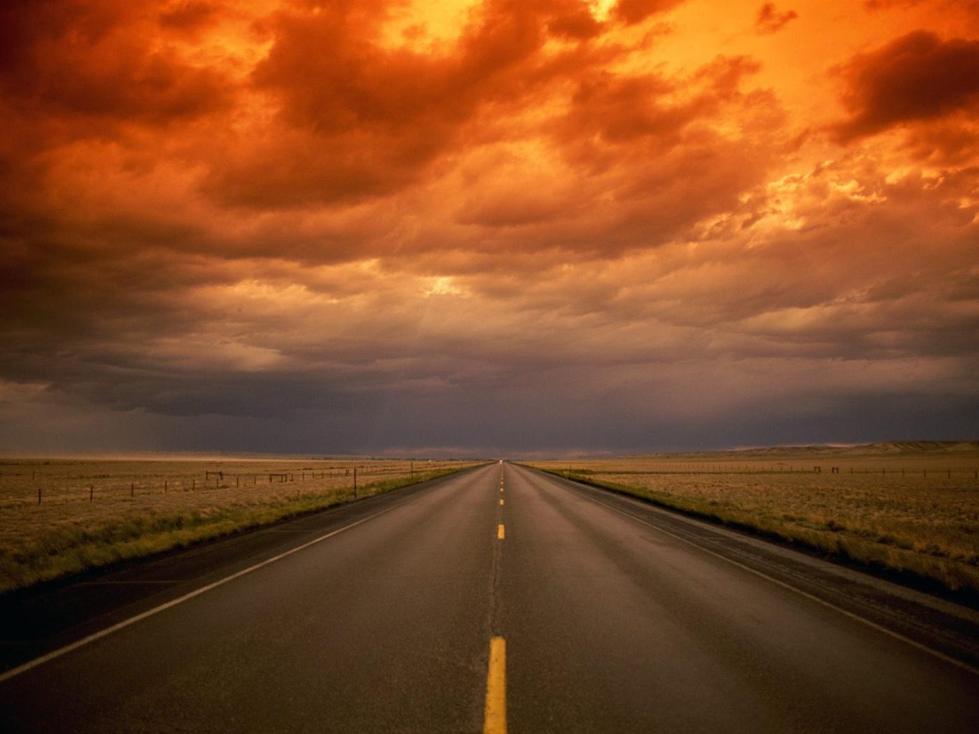 26062 скачать обои Пейзаж, Закат, Поля, Дороги, Облака - заставки и картинки бесплатно