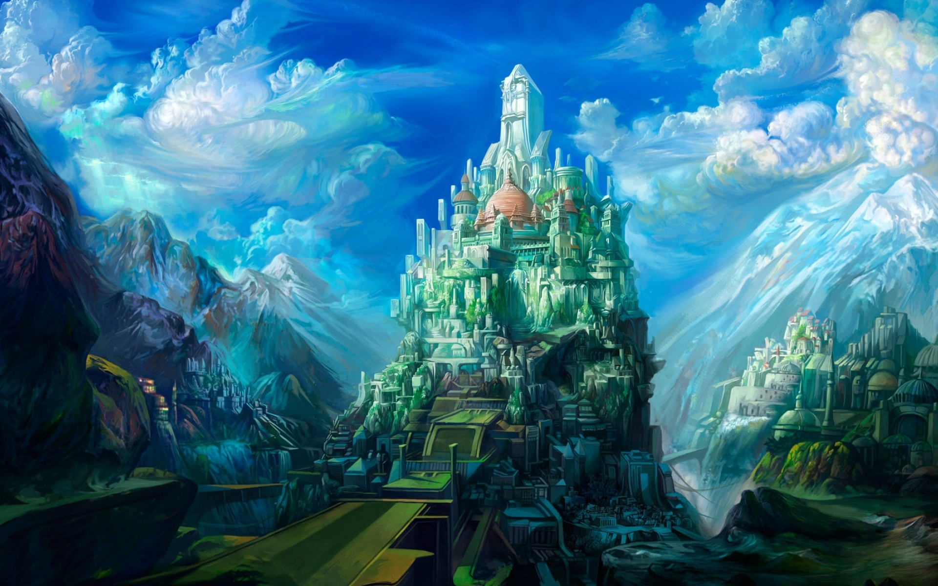 2437 download wallpaper Cities, Fantasy, Castles, Pictures screensavers and pictures for free