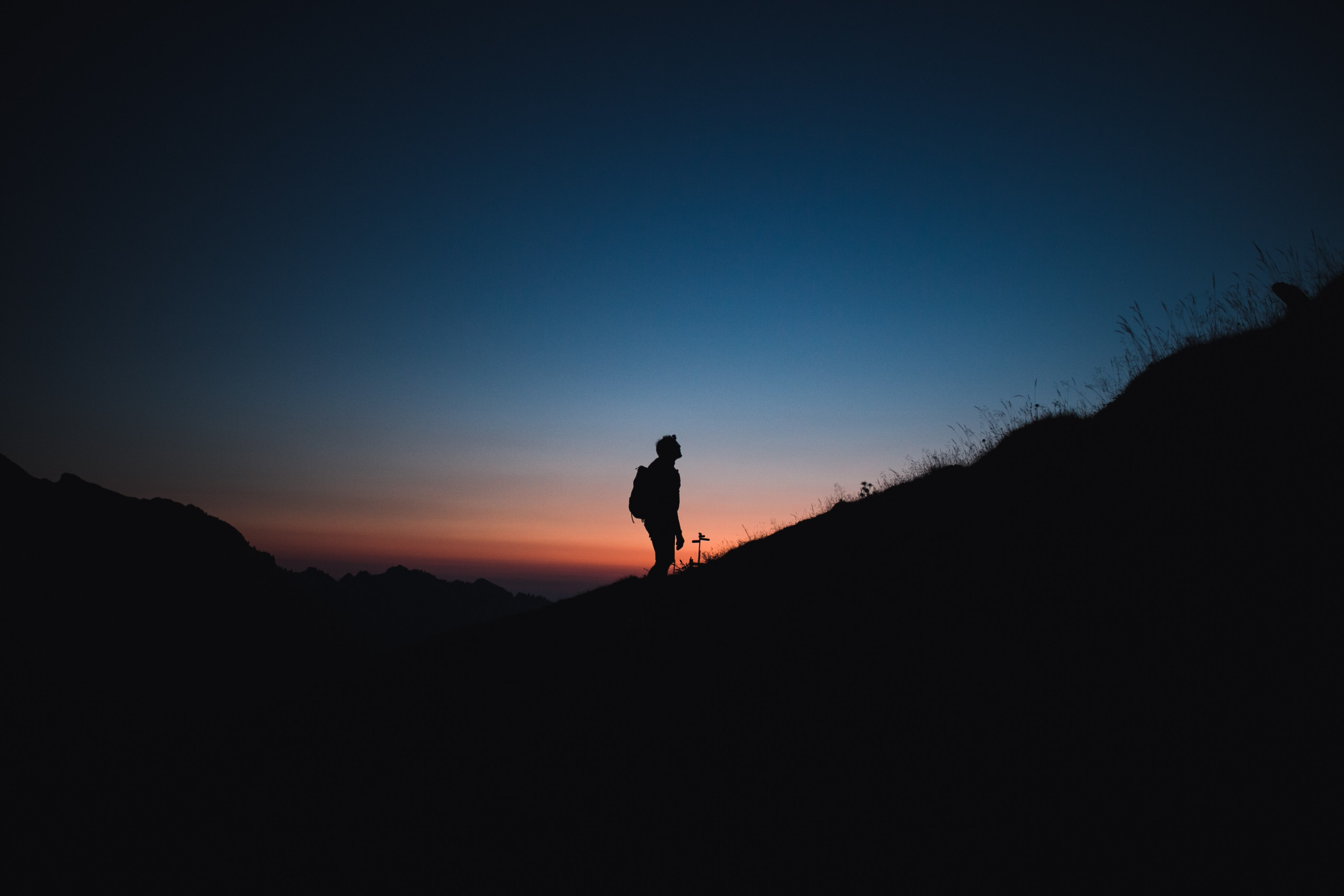 72132 Screensavers and Wallpapers Silhouette for phone. Download Silhouette, Night, Mountain, Dark, Journey, Alone, Lonely pictures for free