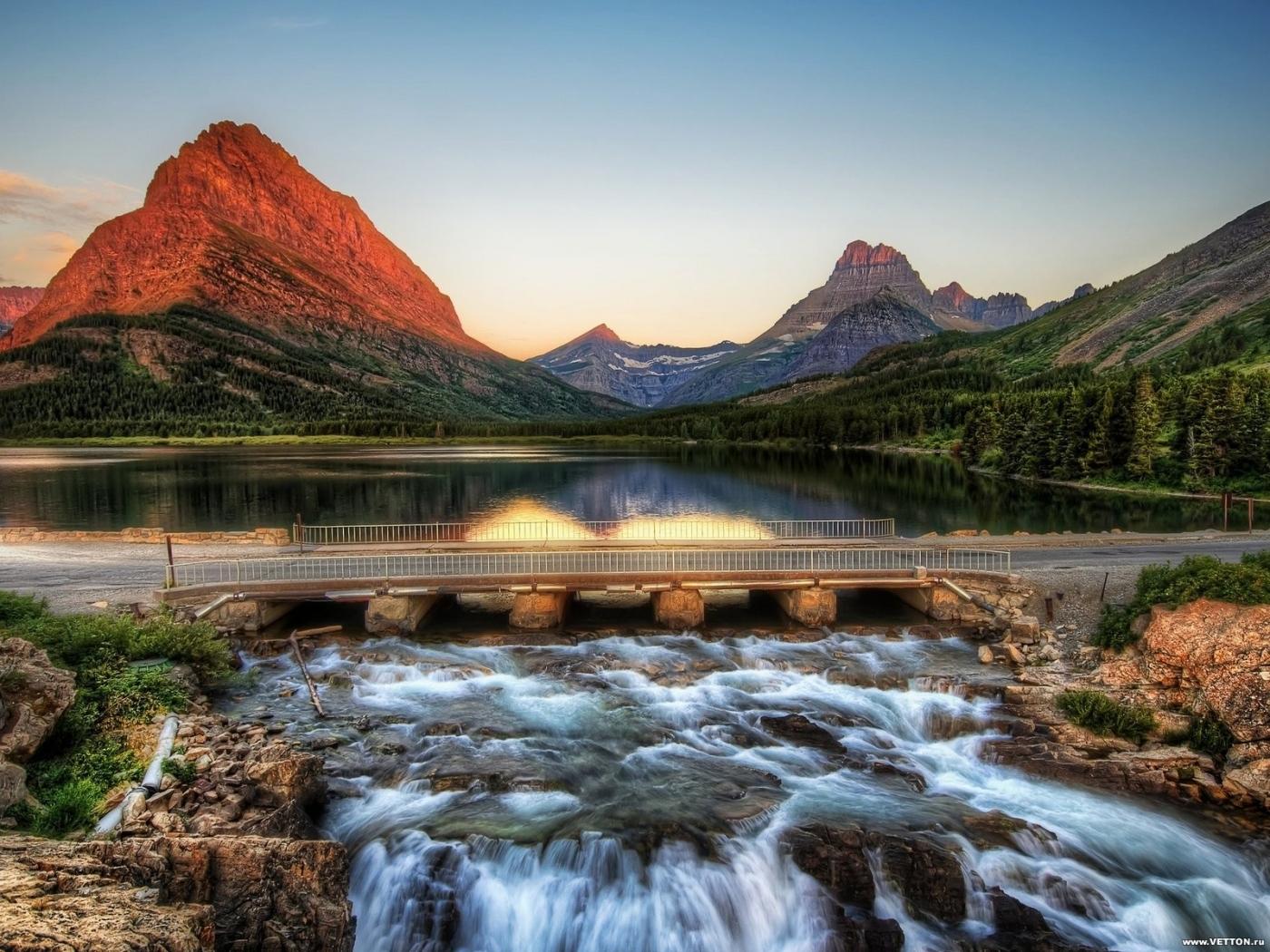 28370 скачать обои Мосты, Пейзаж, Река, Горы - заставки и картинки бесплатно