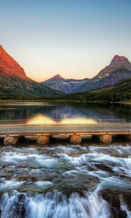 28370 скачать обои Пейзаж, Река, Мосты, Горы - заставки и картинки бесплатно