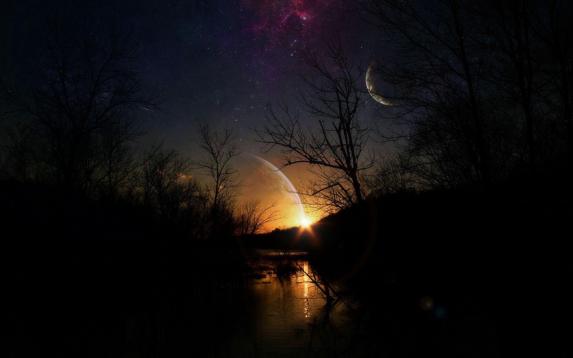 133503 скачать обои Темные, Ночь, Свет, Планеты - заставки и картинки бесплатно