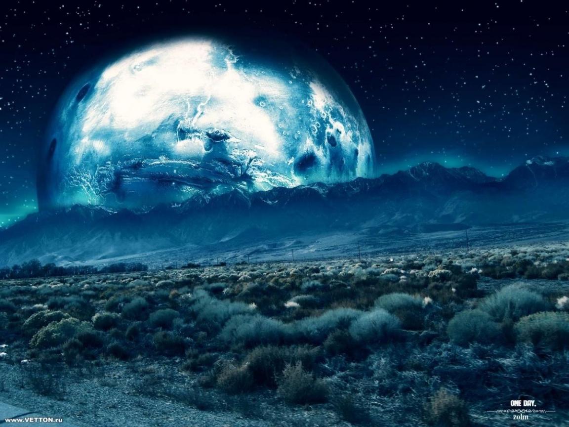 562 скачать обои Пейзаж, Арт, Планеты, Горы, Ночь - заставки и картинки бесплатно