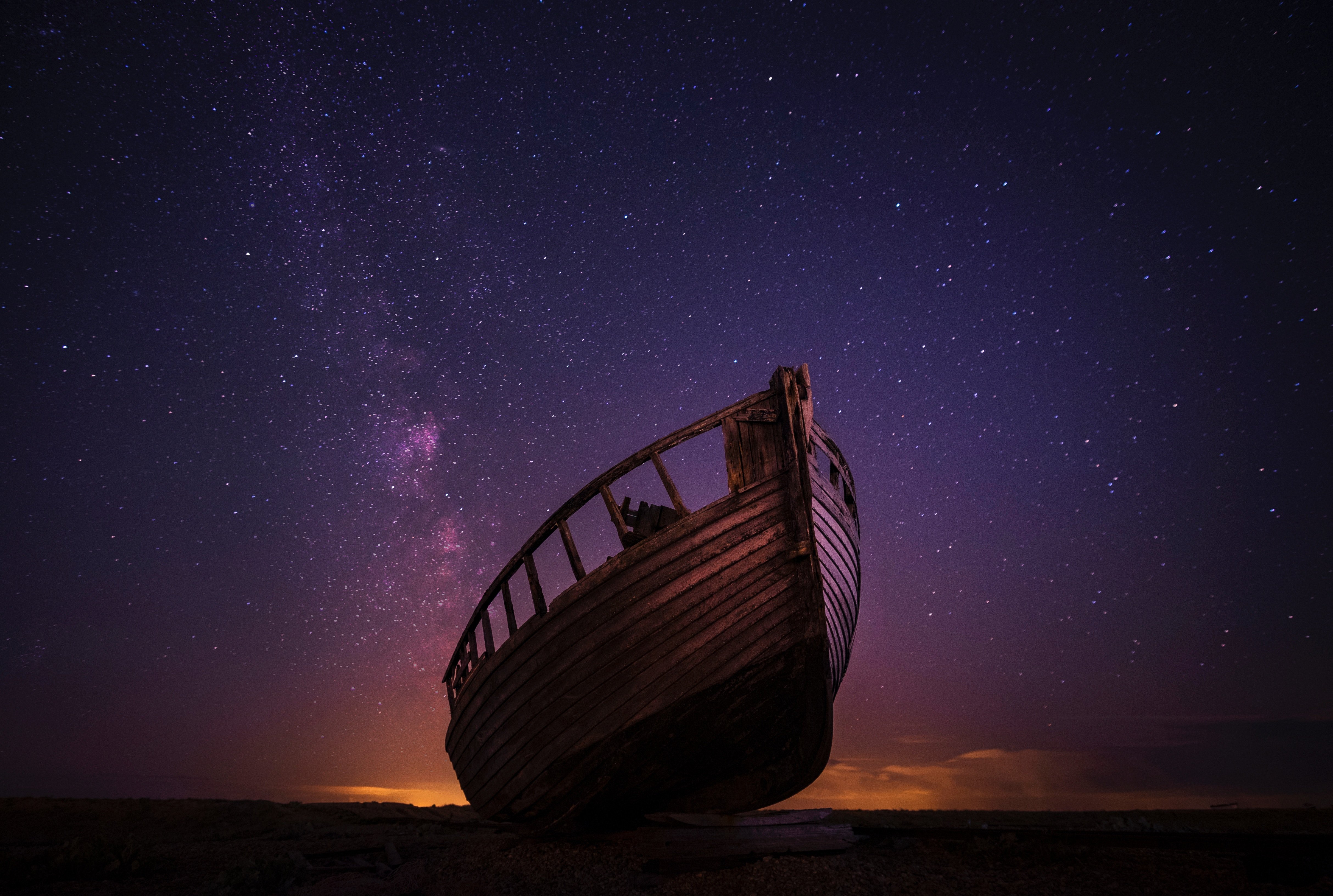 130186 Screensavers and Wallpapers Boat for phone. Download Nature, Night, Starry Sky, Boat pictures for free