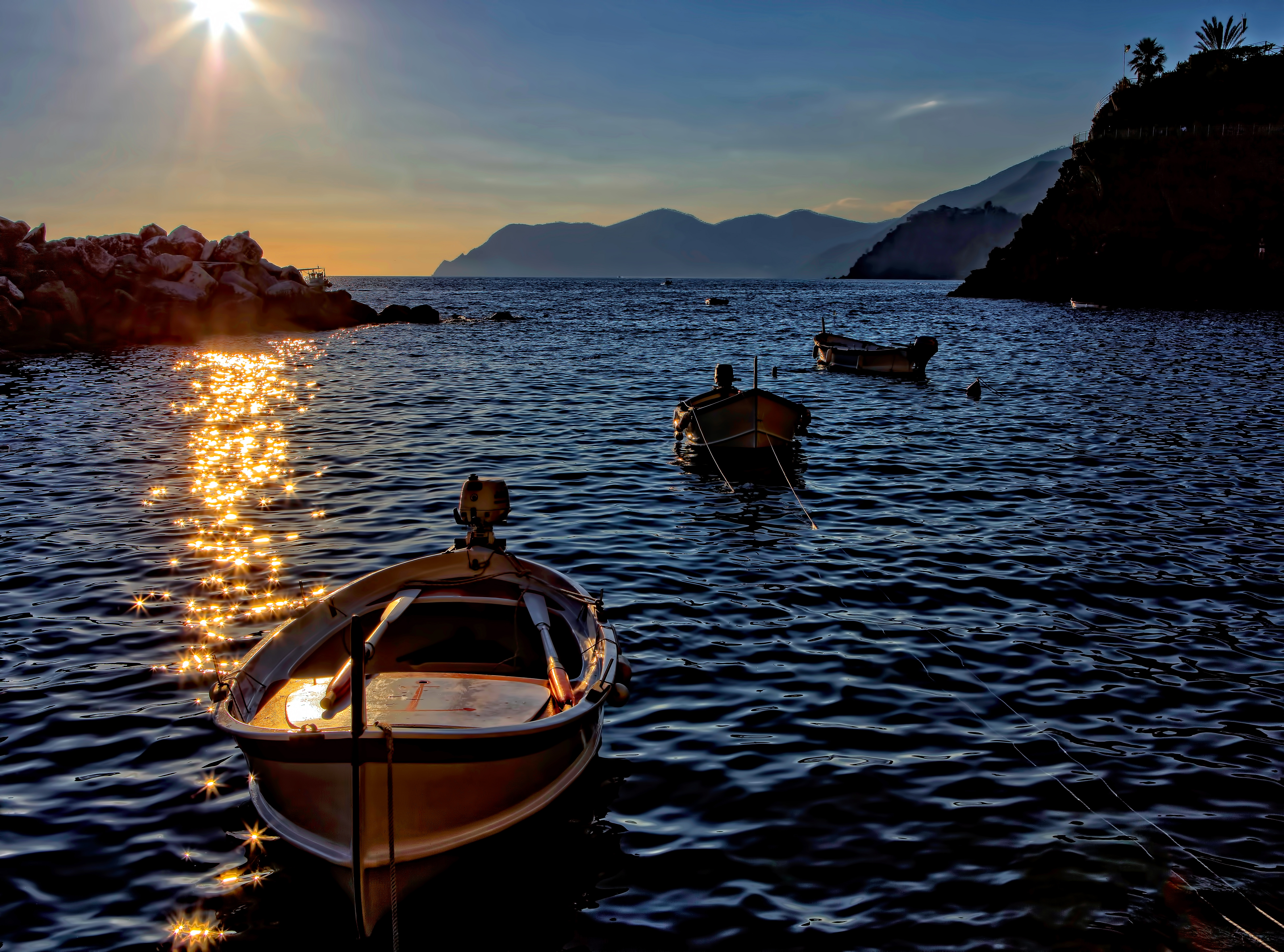 102672 Screensavers and Wallpapers Boat for phone. Download Nature, Water, Sunset, Sea, Shine, Brilliance, Boat pictures for free