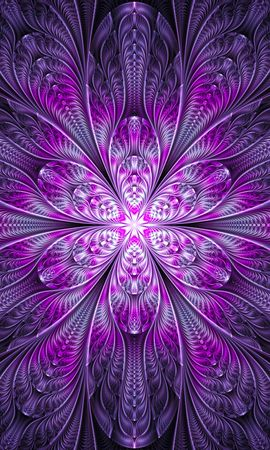 92045 download wallpaper Abstract, Fractal, Flower, Bright, Purple, Violet, Digital screensavers and pictures for free