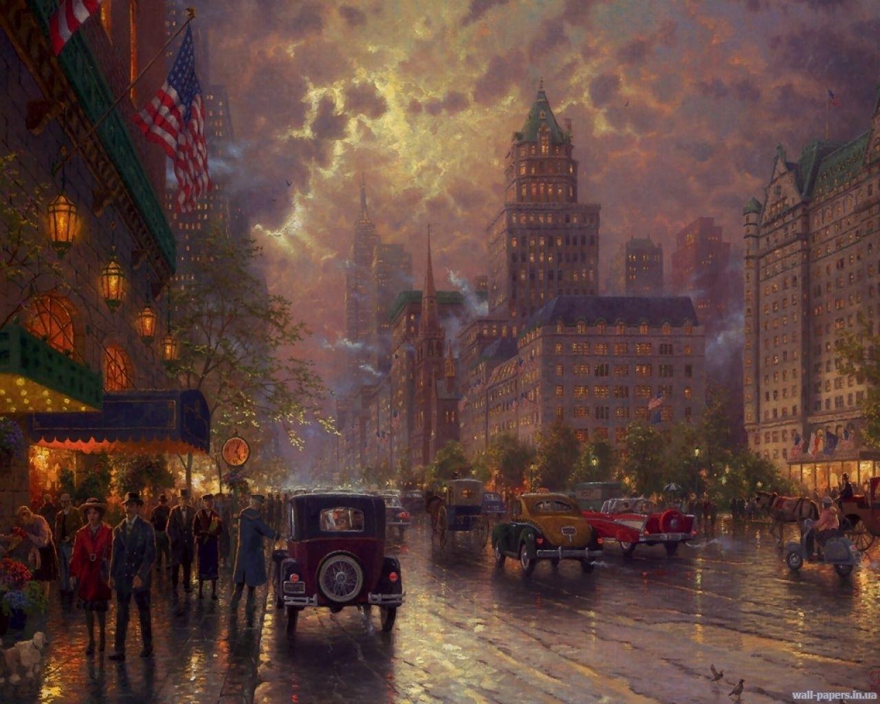 3498 скачать обои Города, Машины, Улицы, Рисунки - заставки и картинки бесплатно