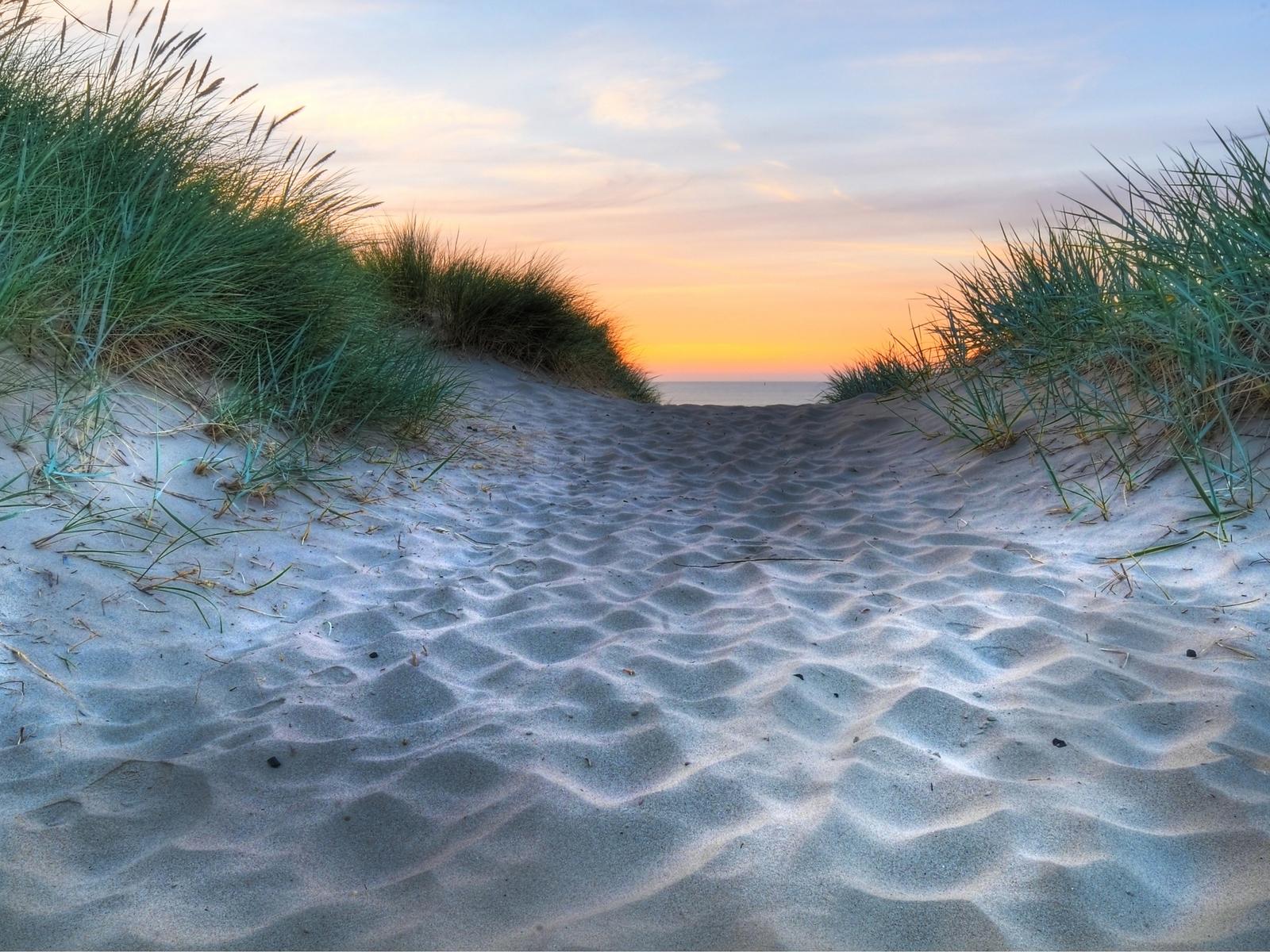 19342 скачать обои Пейзаж, Закат, Море, Песок - заставки и картинки бесплатно