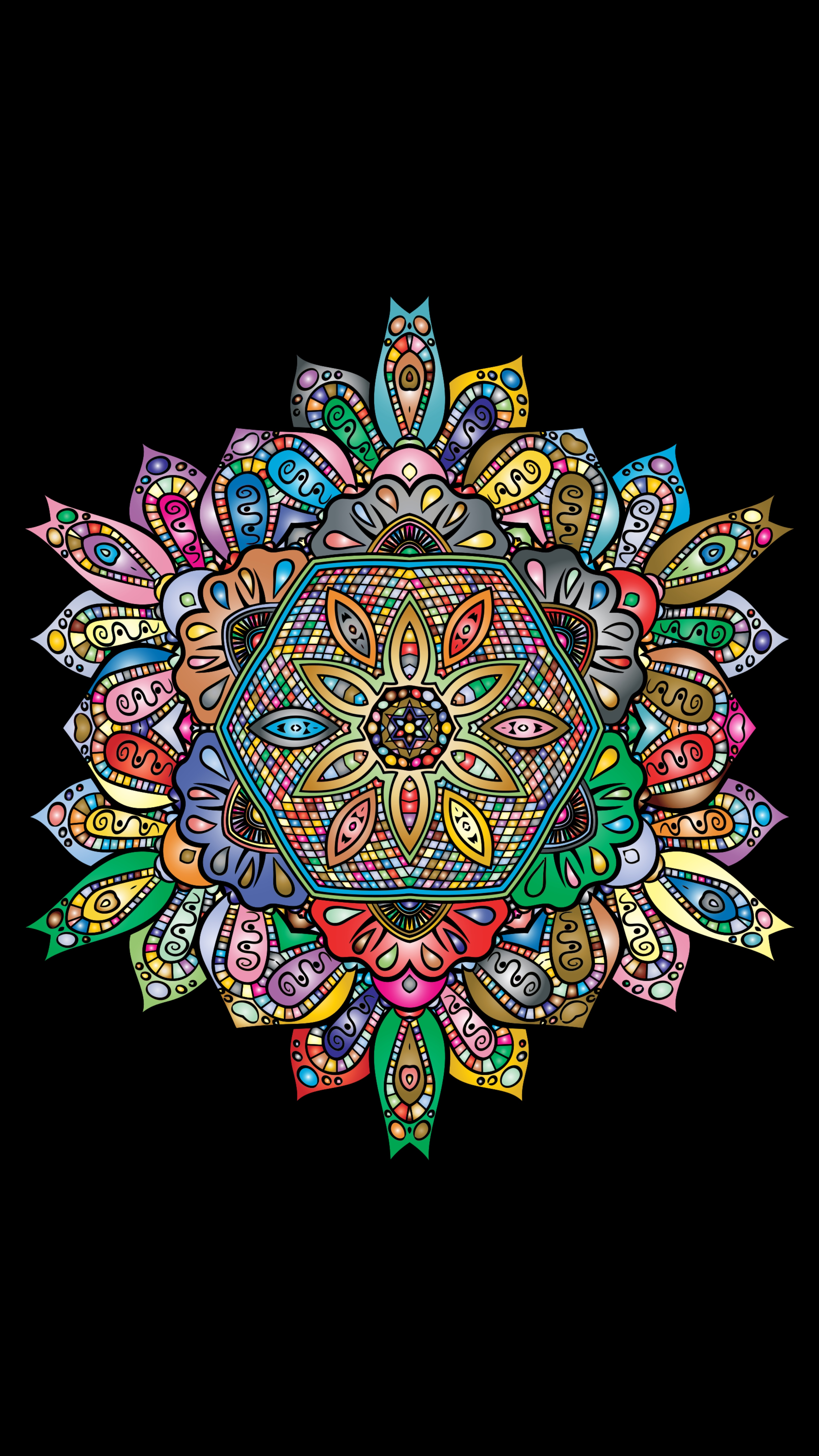 75720 download wallpaper Vector, Mandala, Multicolored, Motley, Floral, Patterns screensavers and pictures for free