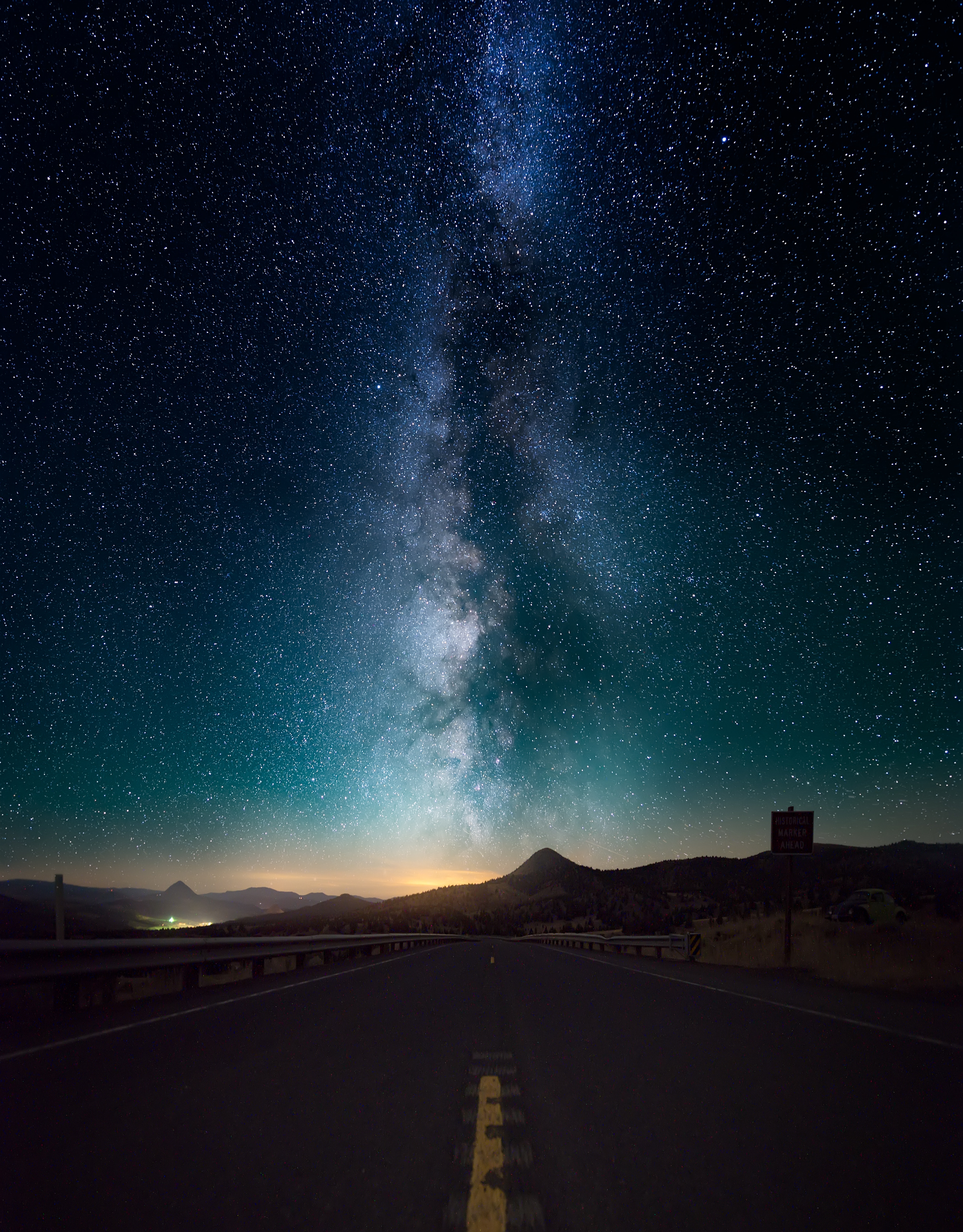 96038 download wallpaper Night, Nature, Horizon, Road, Starry Sky screensavers and pictures for free
