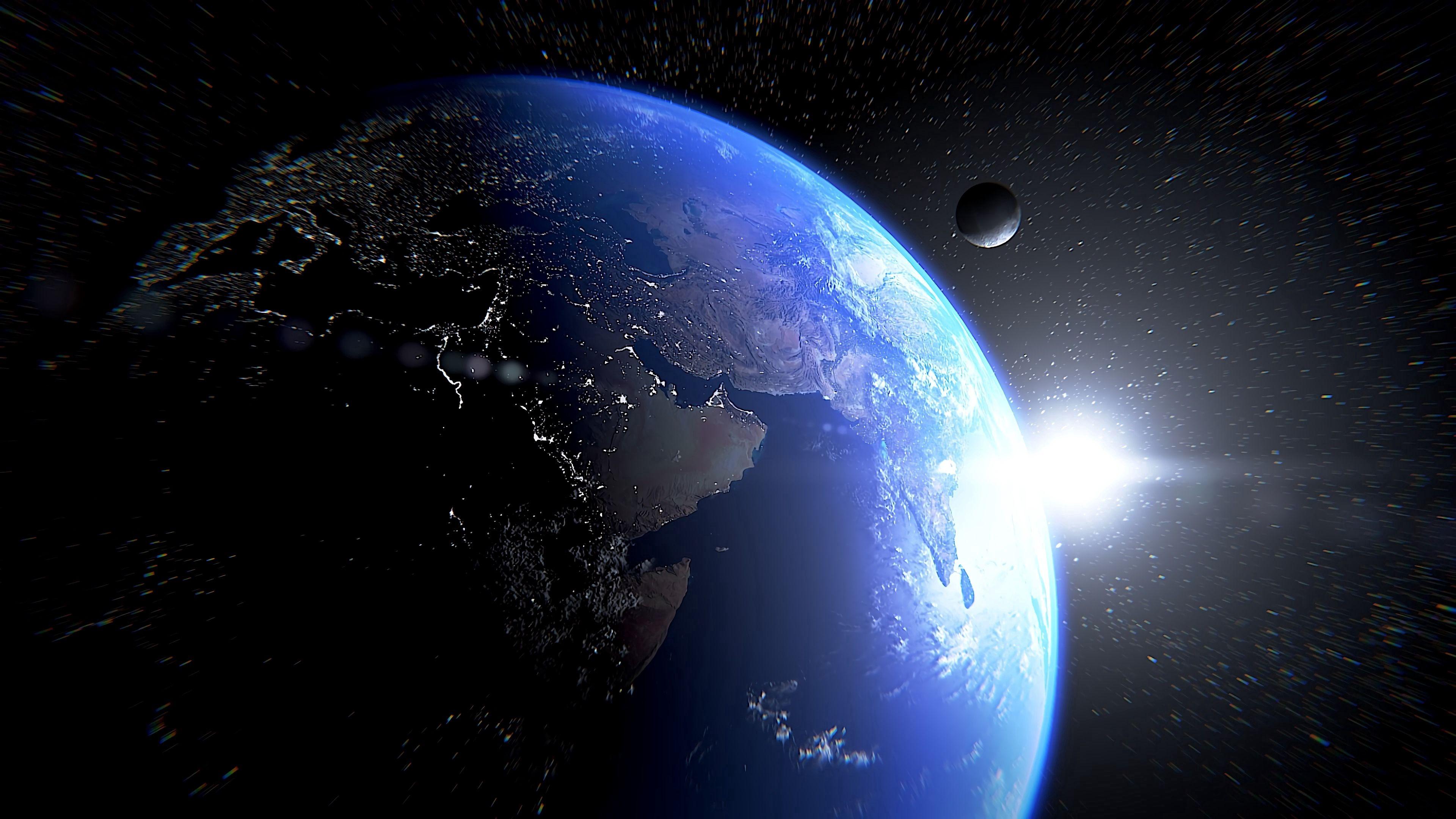 79940 скачать обои Космос, Планета, Спутник, Звезды, Блик - заставки и картинки бесплатно