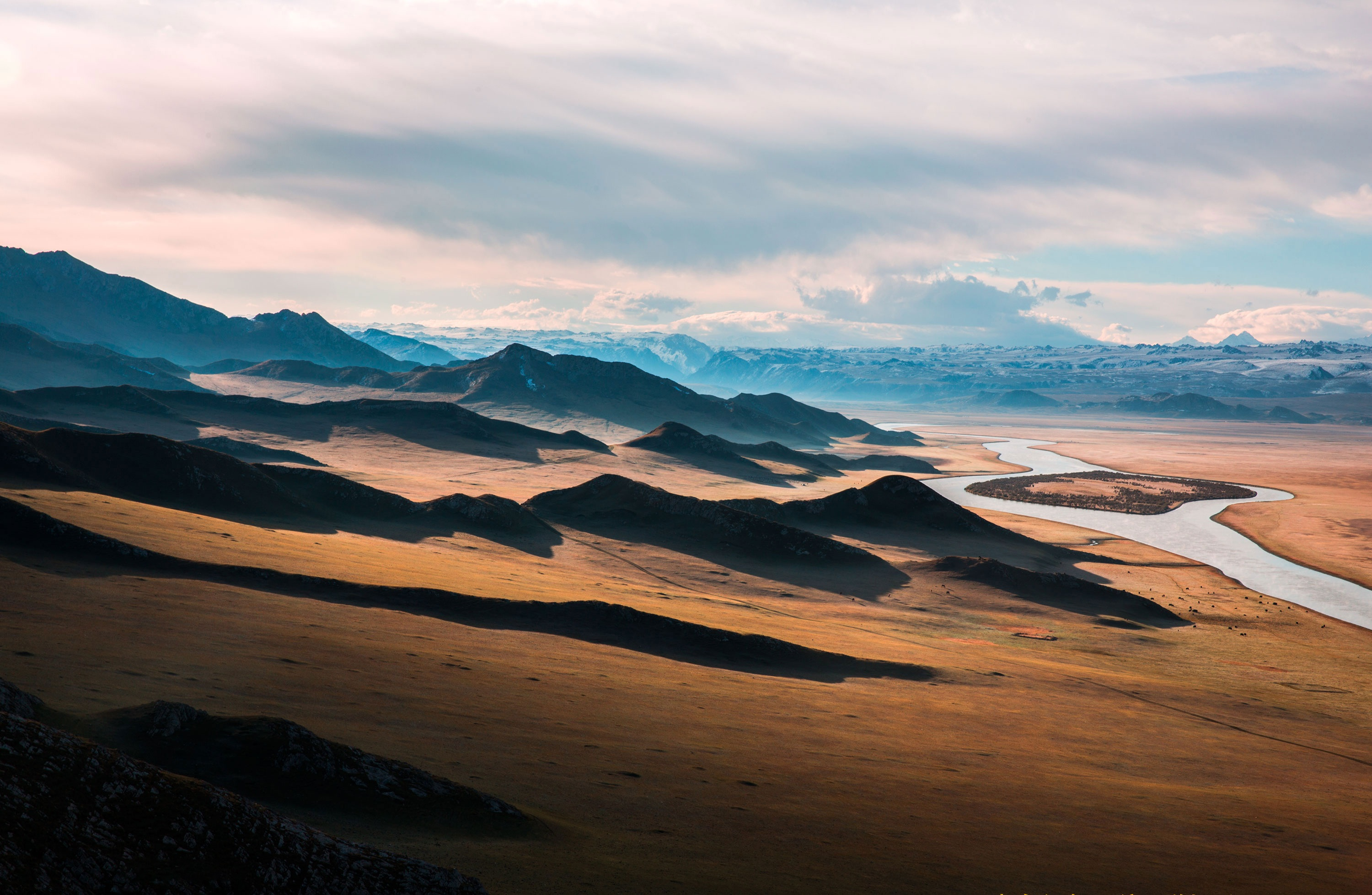 137243 download wallpaper Nature, Prairie, Highway, Mountains, Landscape screensavers and pictures for free