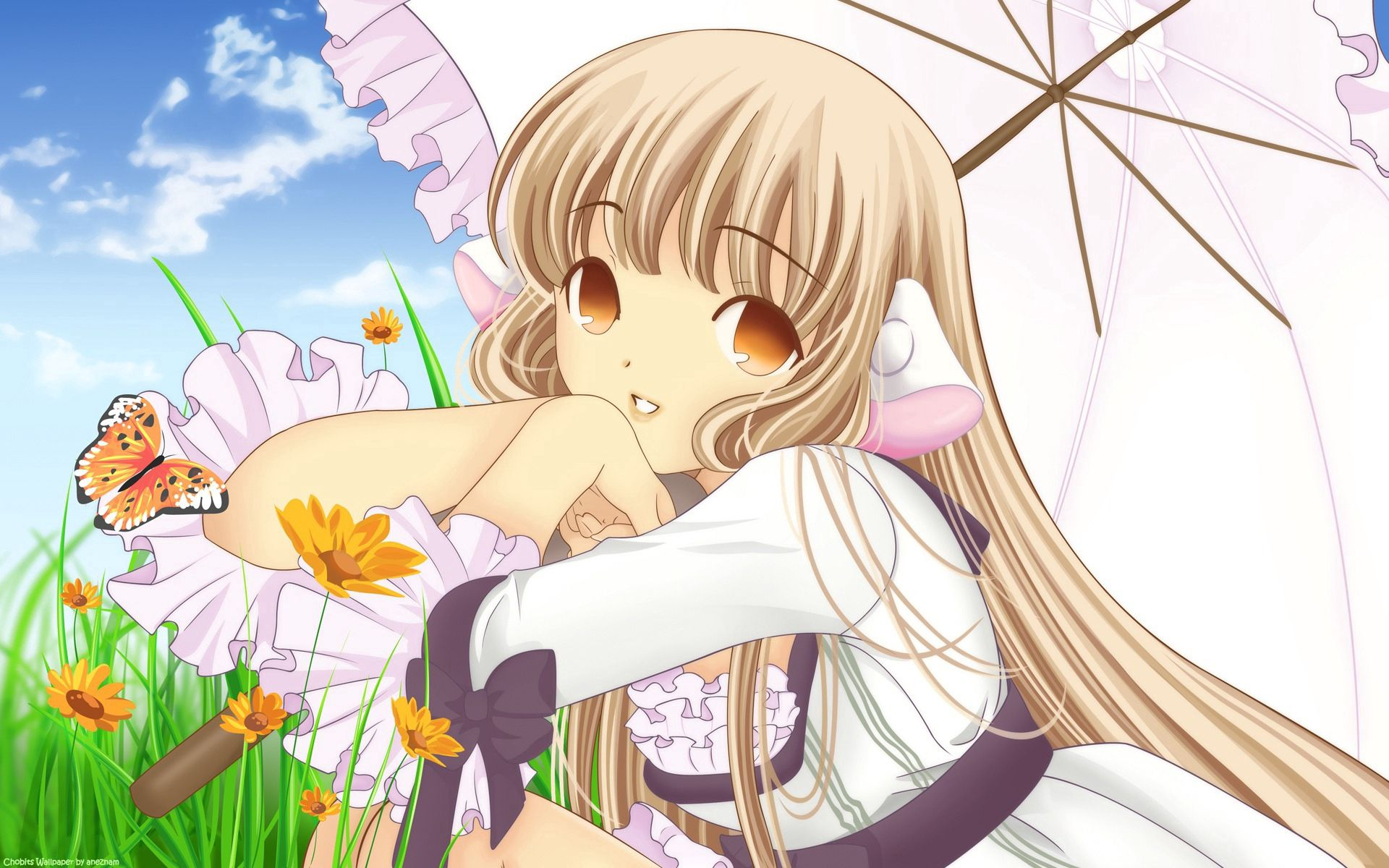 117932 Screensavers and Wallpapers Pretty for phone. Download Anime, Girl, Umbrella, Blonde, Pretty, Chobits pictures for free