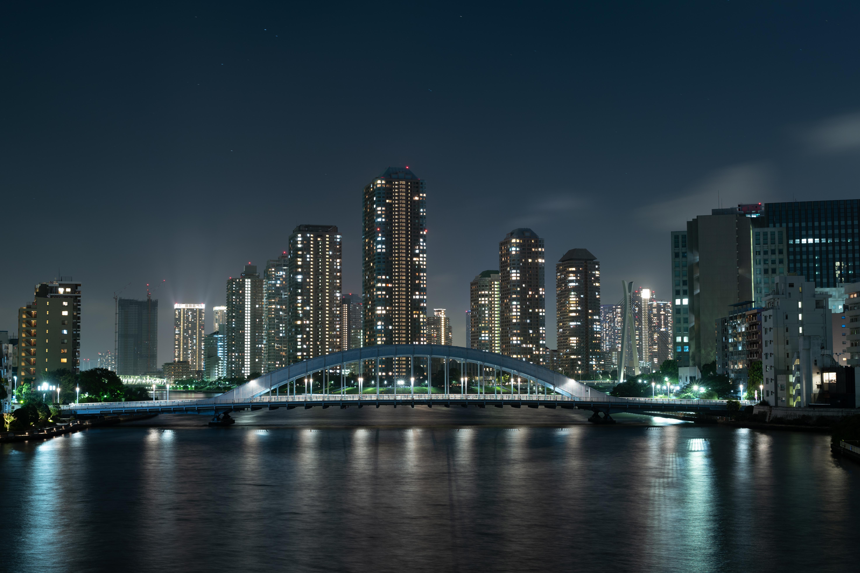 79414 Заставки и Обои Города на телефон. Скачать Небоскребы, Мост, Ночной Город, Река, Токио, Япония, Города картинки бесплатно