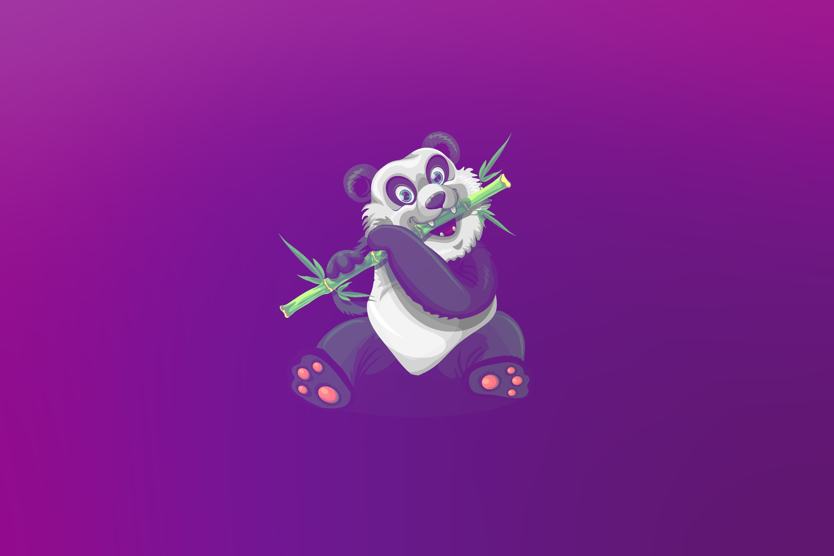 113520 download wallpaper Panda, Art, Bamboo, Nice, Sweetheart screensavers and pictures for free
